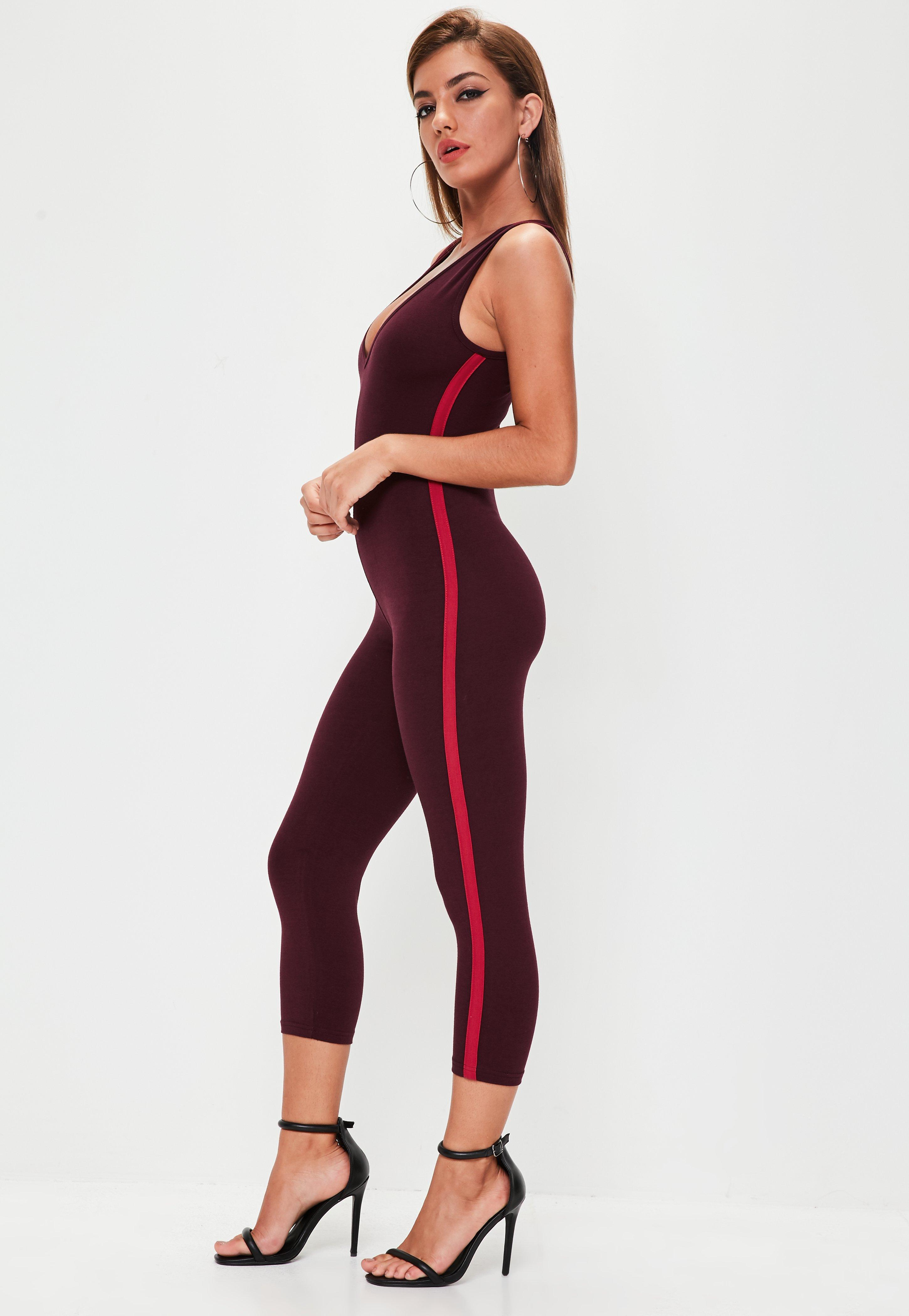 Missguided Burgundy Jersey Strip Side Unitard Jumpsuit in ...