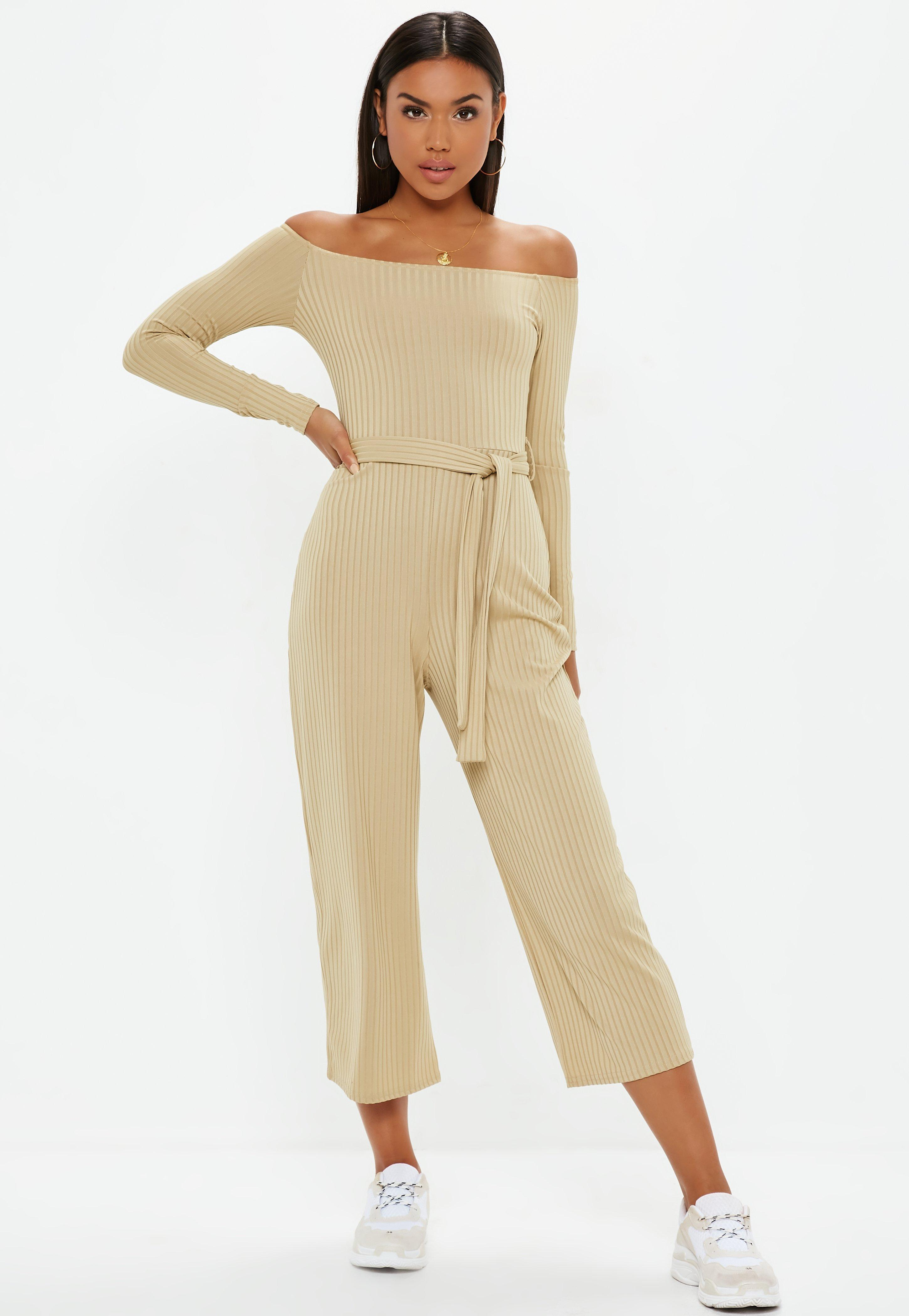 5ba9e8bfea3 Lyst - Missguided Stone Ribbed Bardot Belted Wide Leg Jumpsuit in ...
