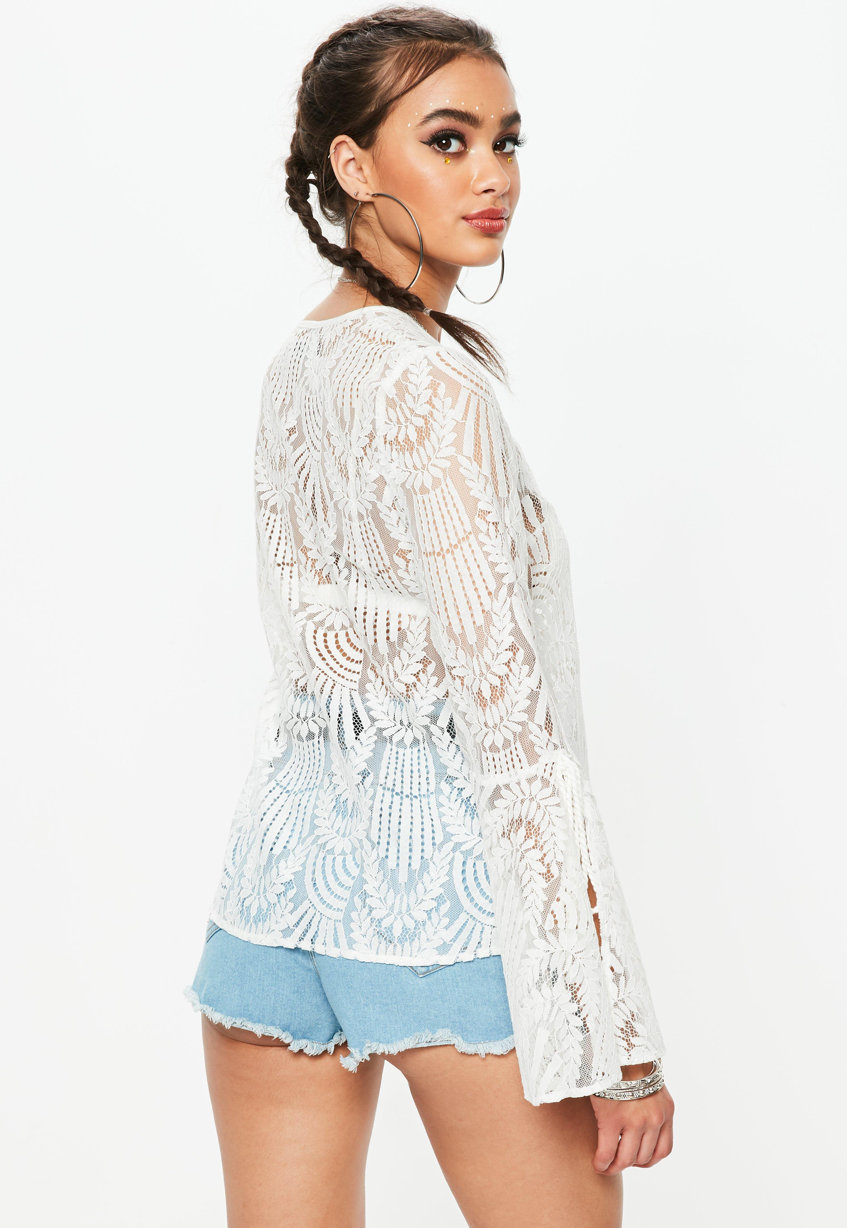Missguided Ivory Boho Lace Blouse Clearance Official Find Great Free Shipping Footlocker Pictures AUMqC