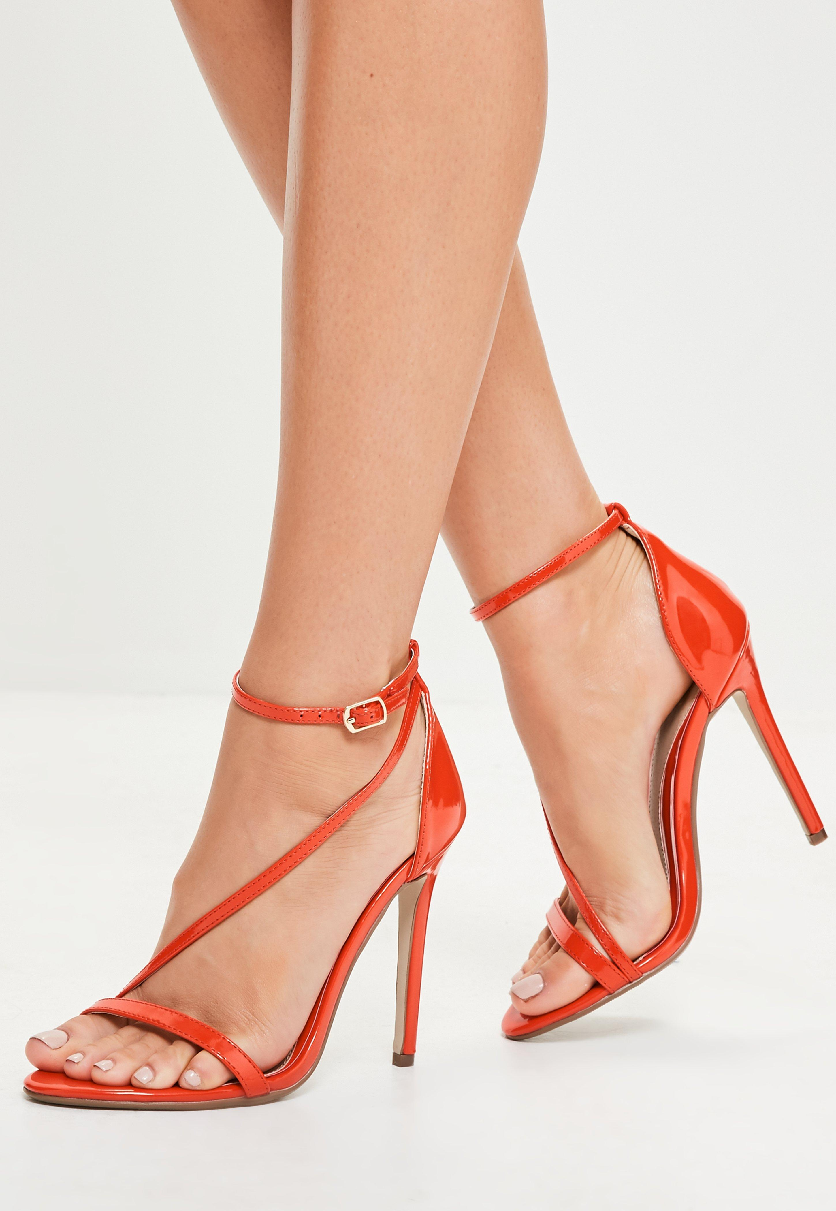 567f4a36b0c3 Missguided Orange Asymmetric Barely There Heels in Orange - Lyst