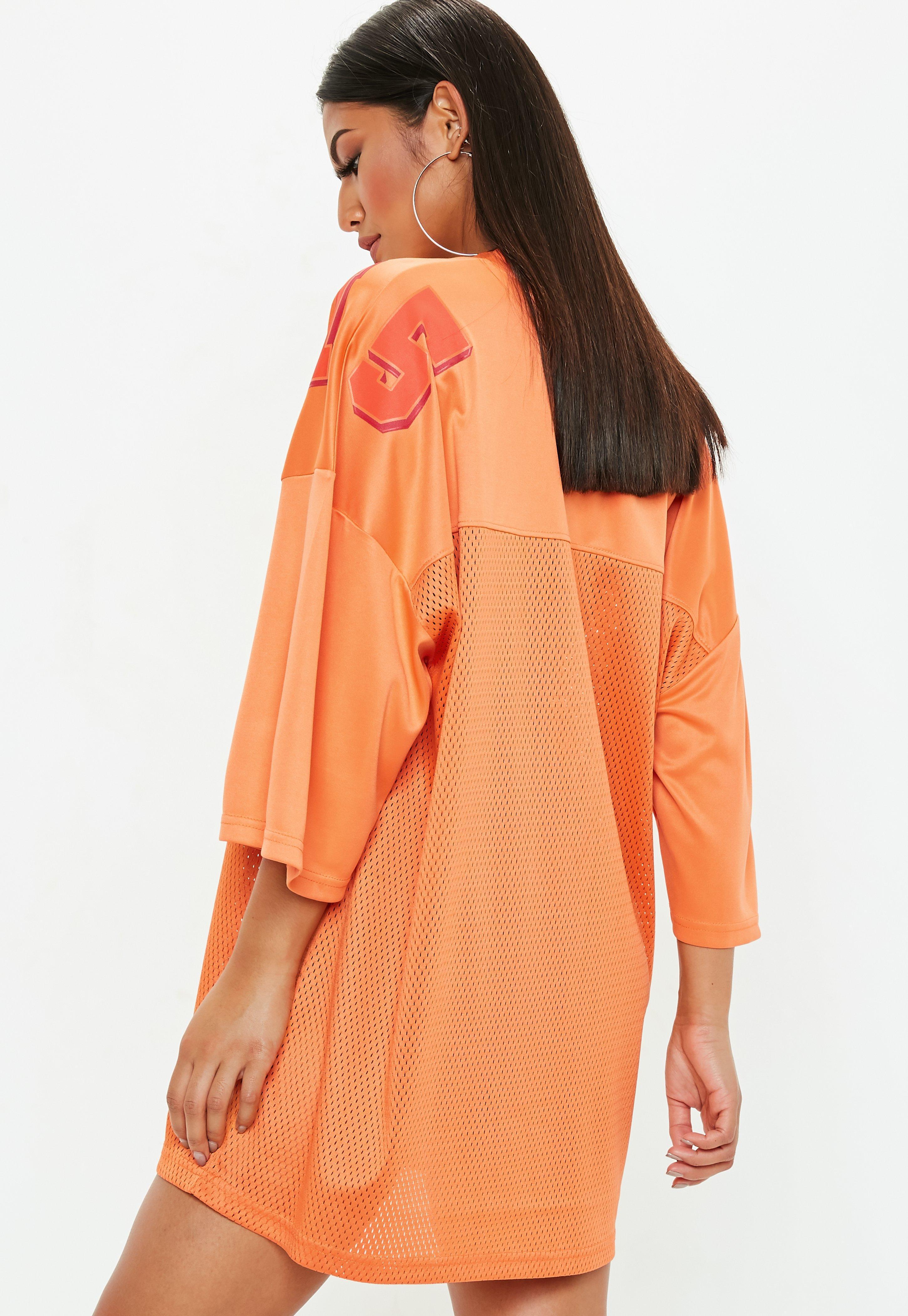 ddcadd587 Lyst - Missguided Orange Oversized Football Jersey Dress in Orange