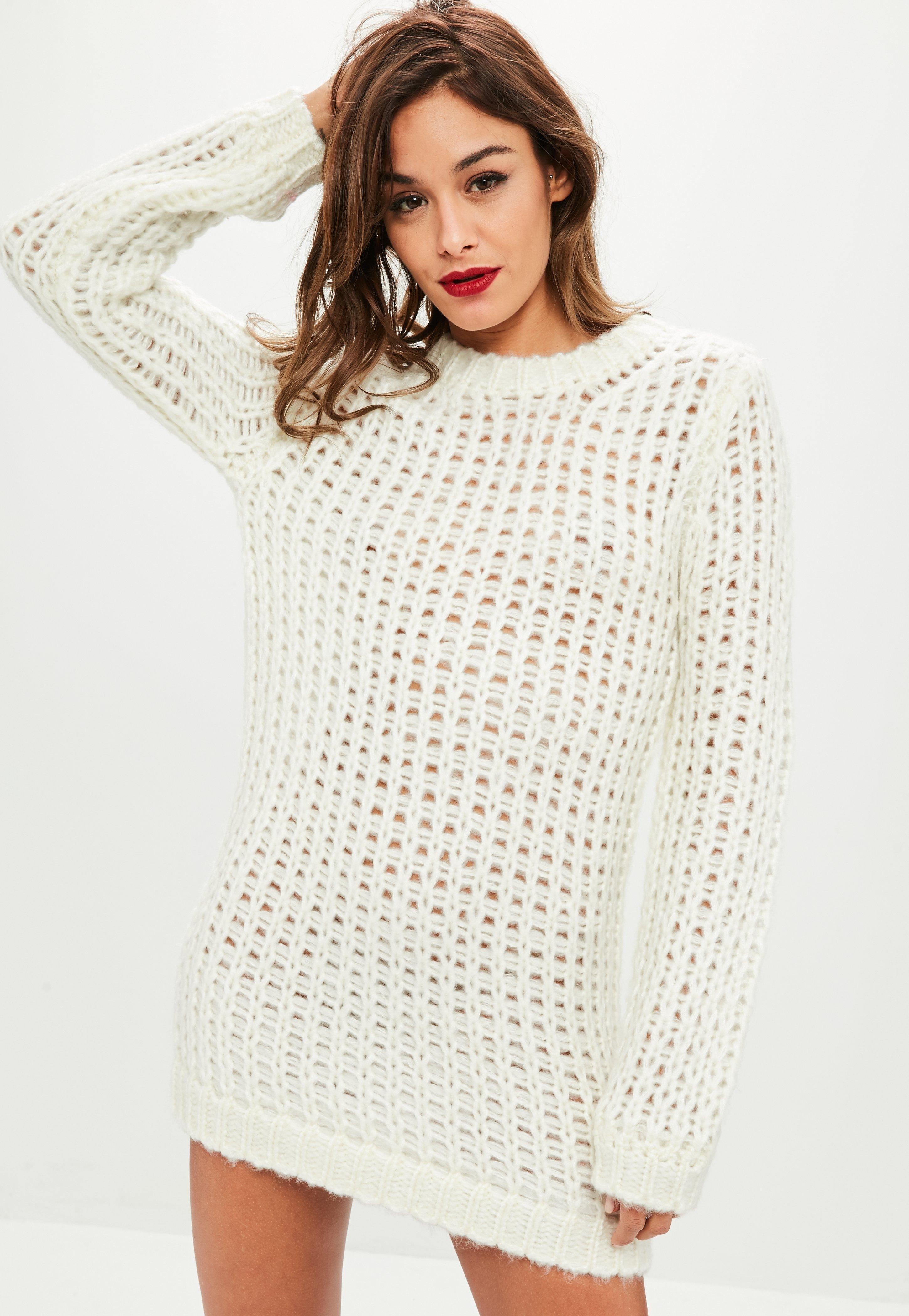 fe5dc2321a7 Missguided Ivory Chunky Knit Oversized Jumper Dress in White - Lyst