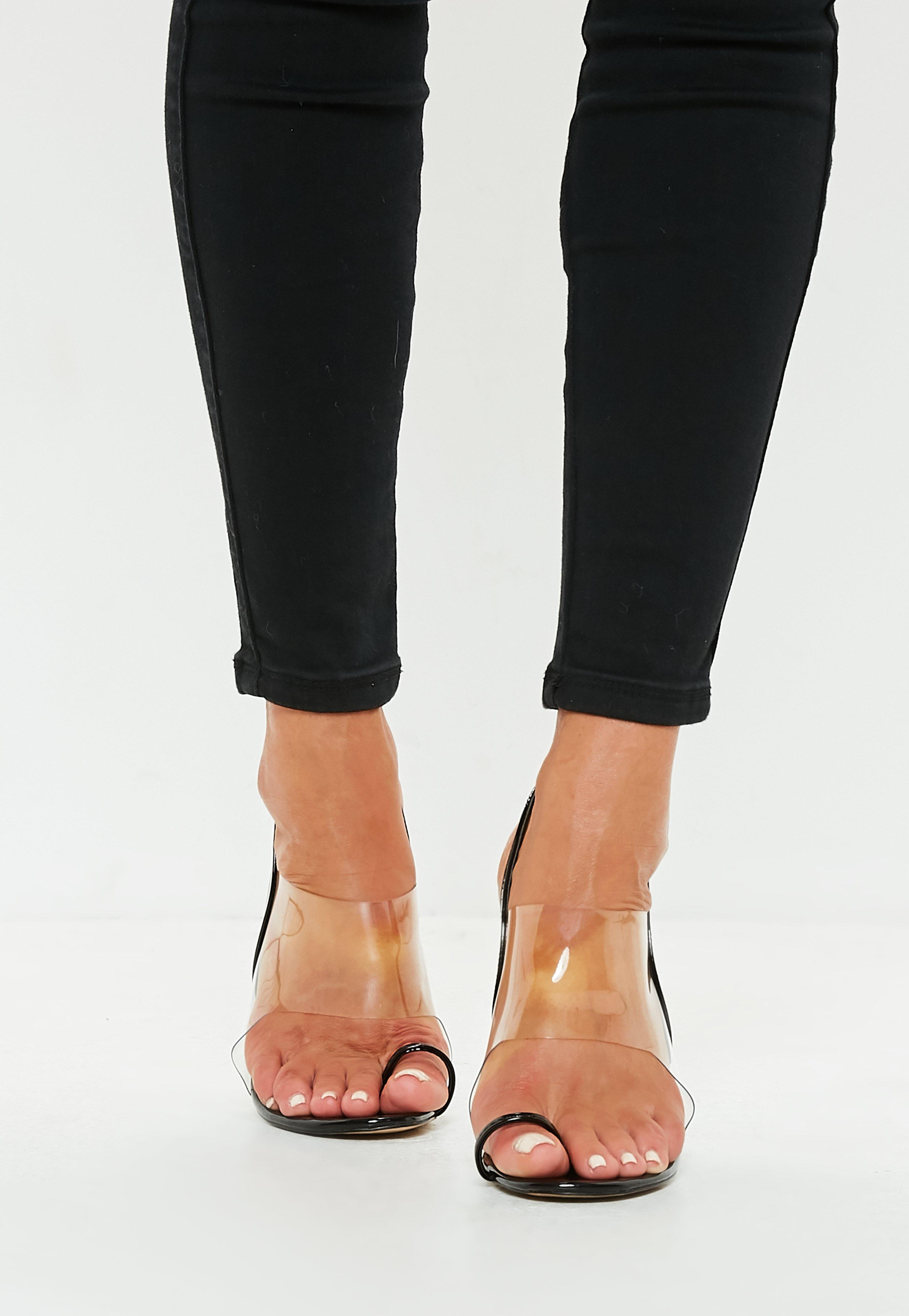 Missguided Black Clear Strap Heeled Sandals - Lyst