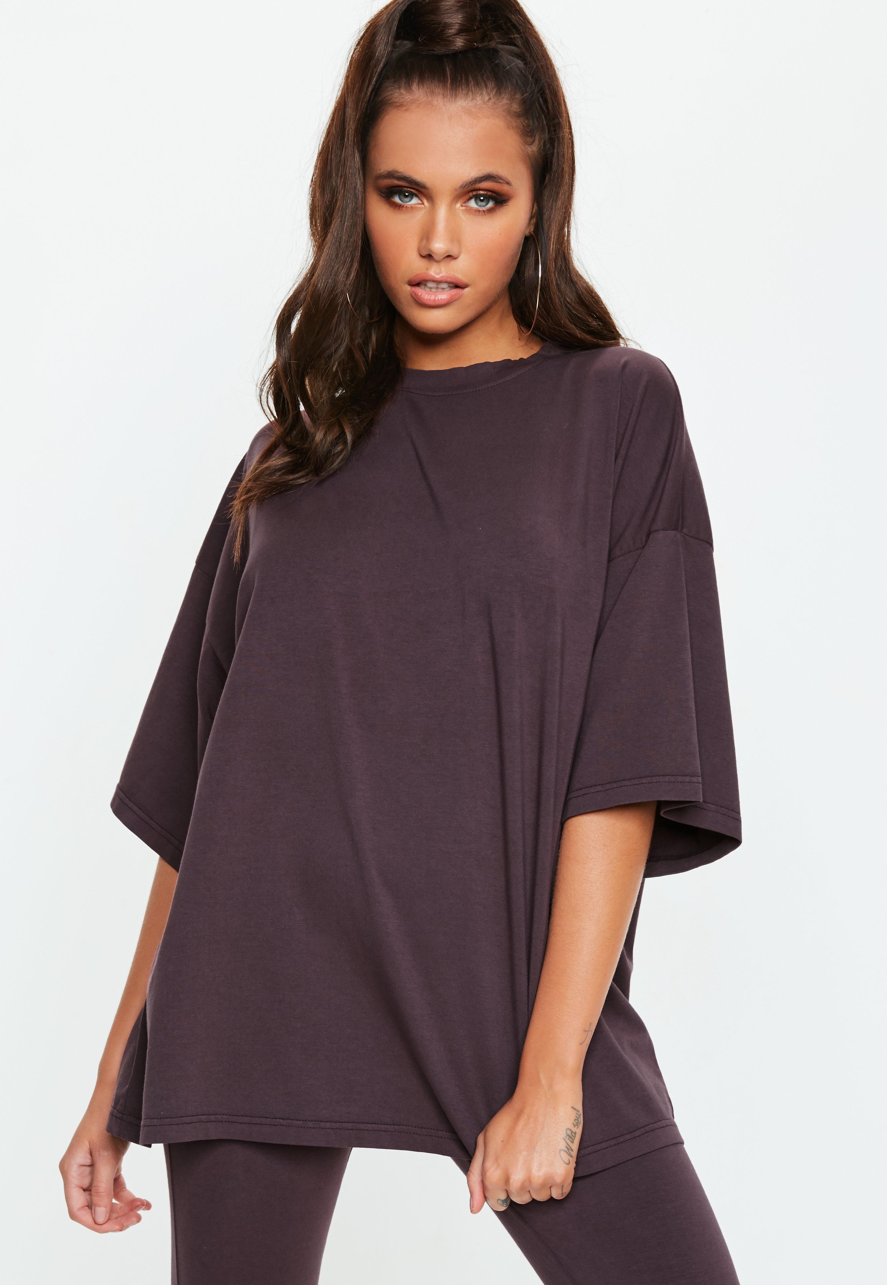 28a06441b Missguided - Brown Drop Shoulder Oversized T Shirt - Lyst. View fullscreen