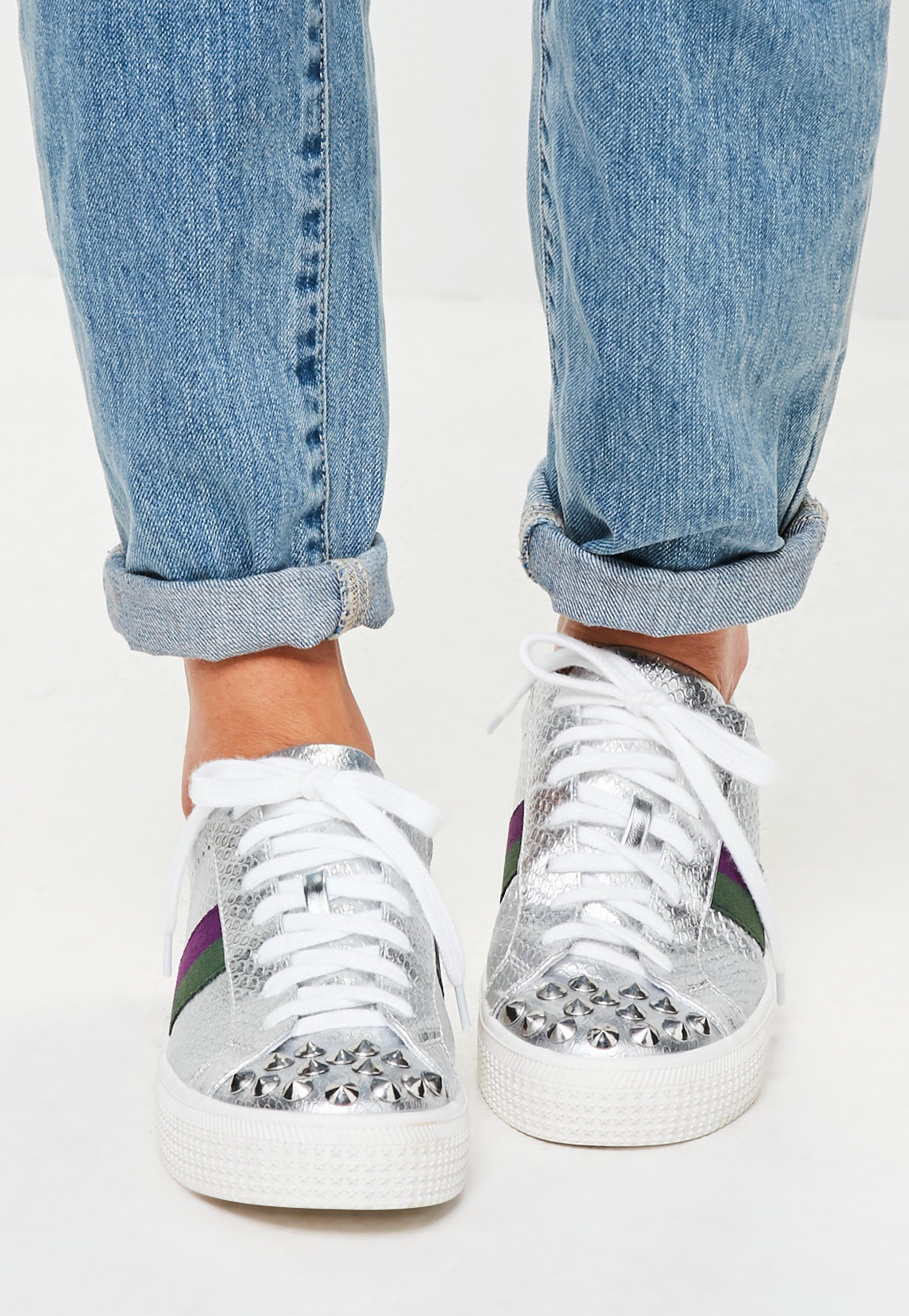 Missguided Silver Studded Toe Cap Trainers in Metallic