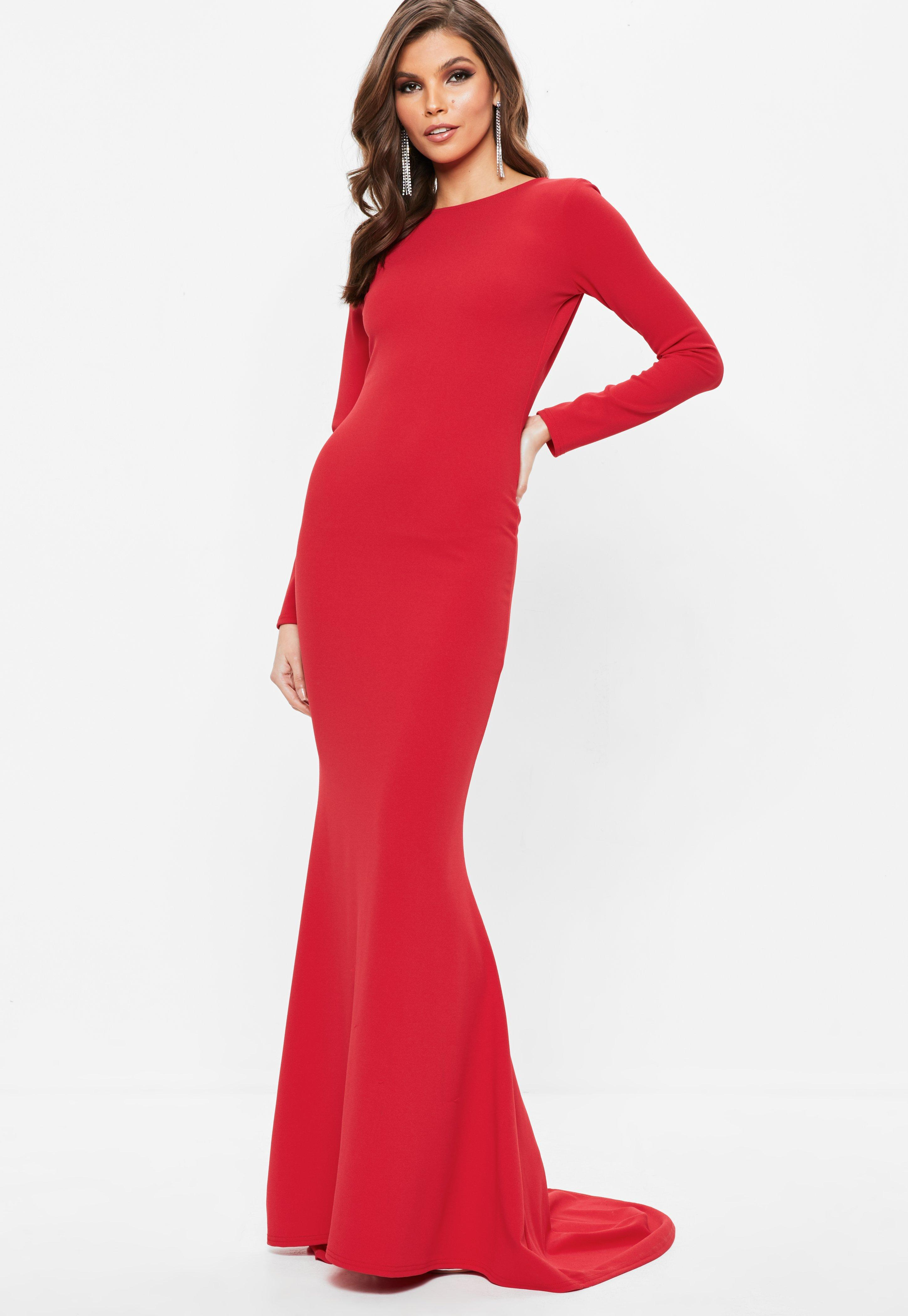 85e7d197e5ea Lyst - Missguided Red Long Sleeve Open Back Fishtail Maxi Dress in Red