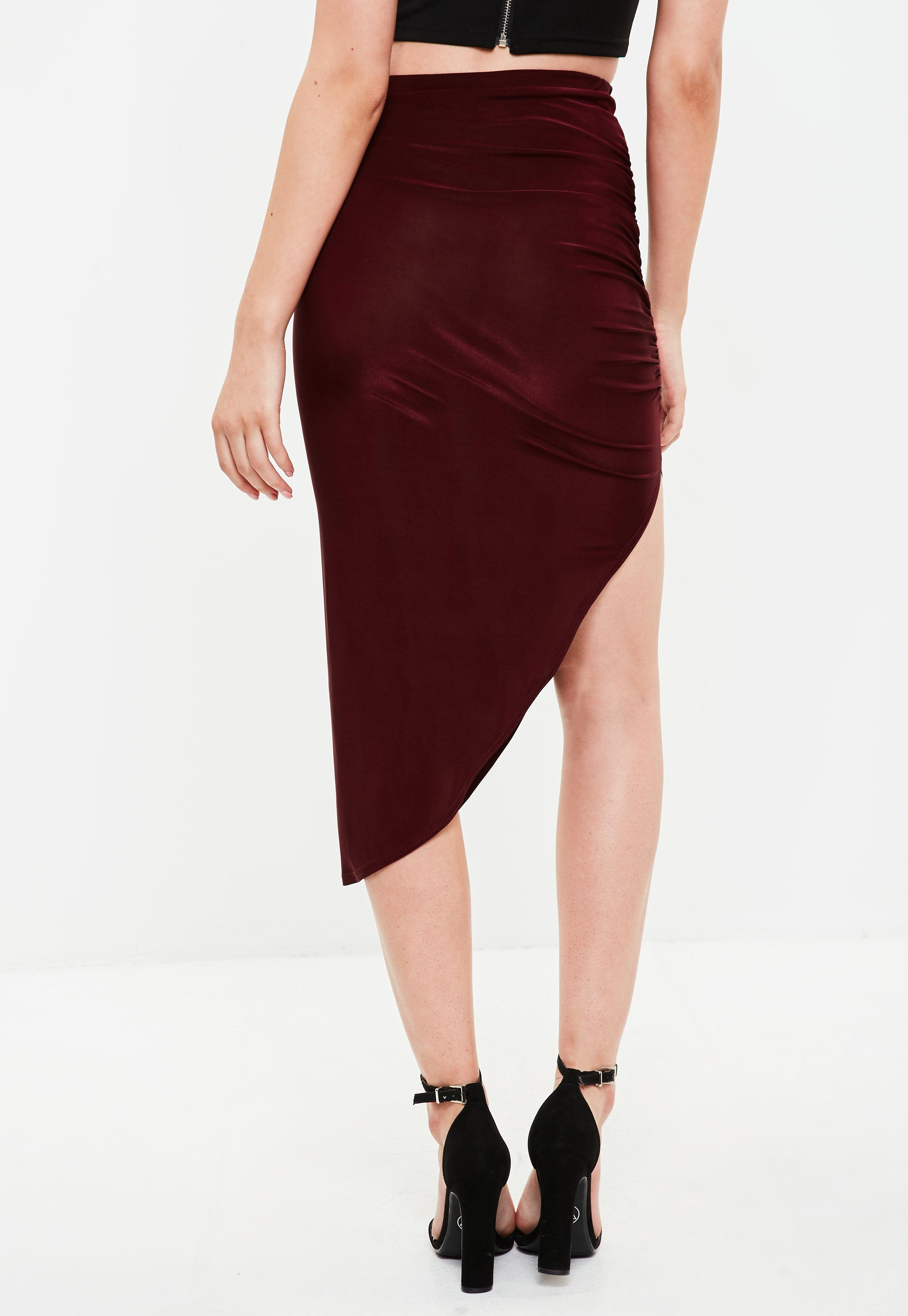 Missguided Synthetic Burgundy Ruched Side Asymmetric Midi Skirt in Red