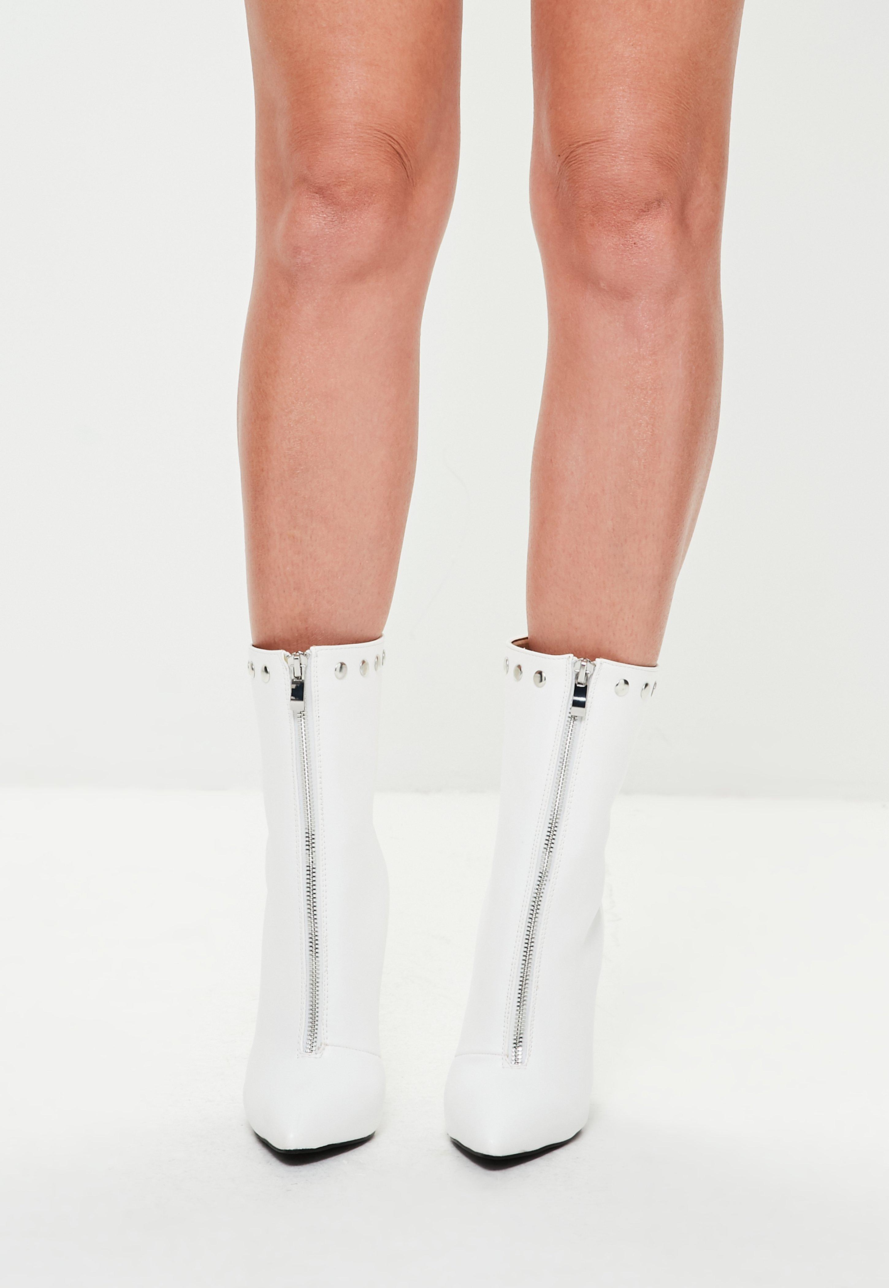 Missguided White Dome Faux Leather Pointed Ankle Boots
