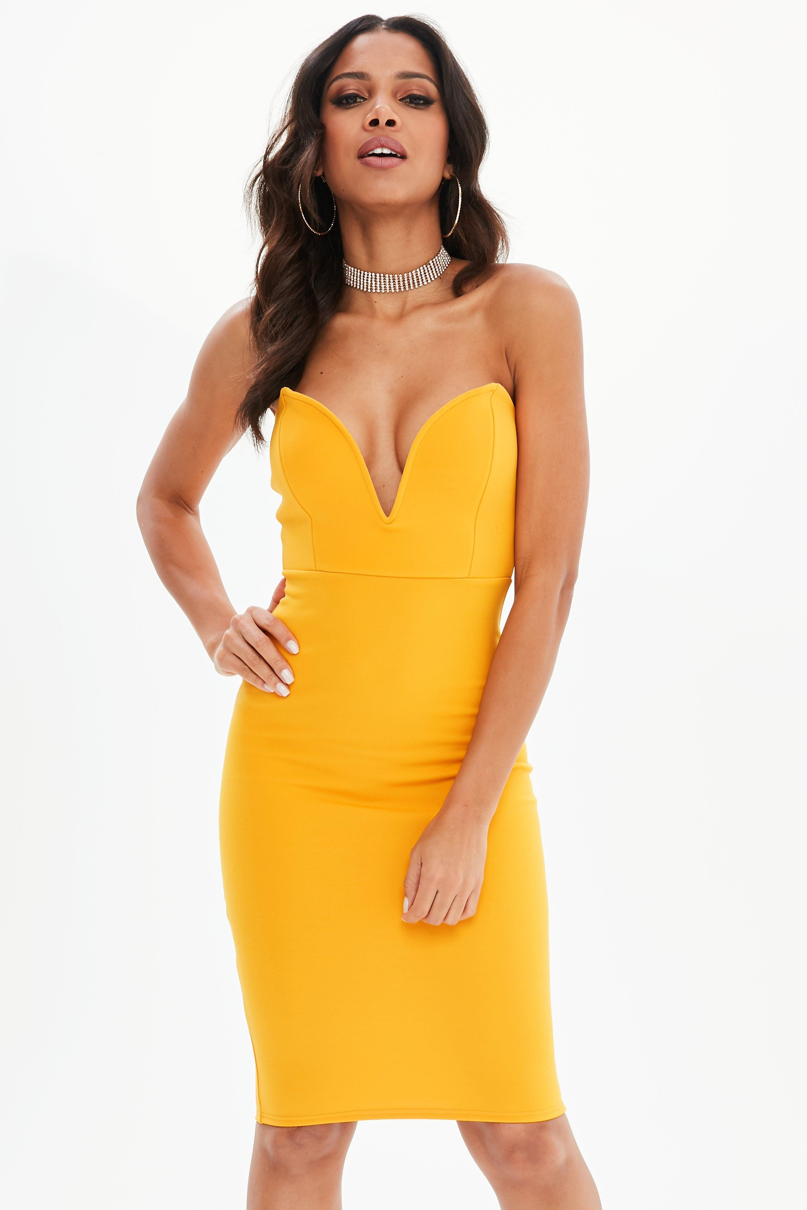 80d035cf04 Lyst - Missguided Mustard Scuba Plunge Bandeau Midi Dress in Yellow