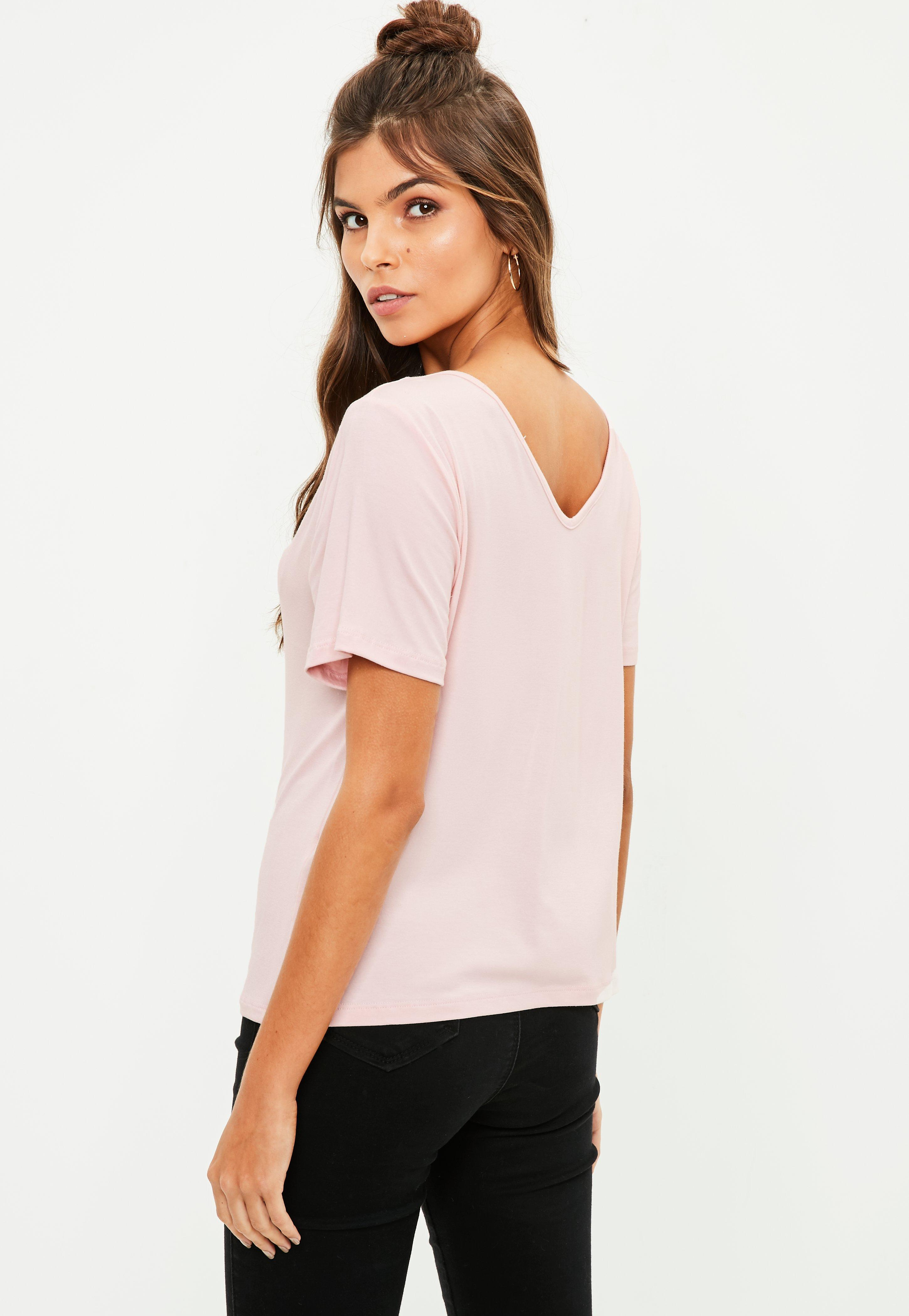 Missguided tall pink v neck cross strap t shirt in pink lyst for Womens tall v neck t shirts