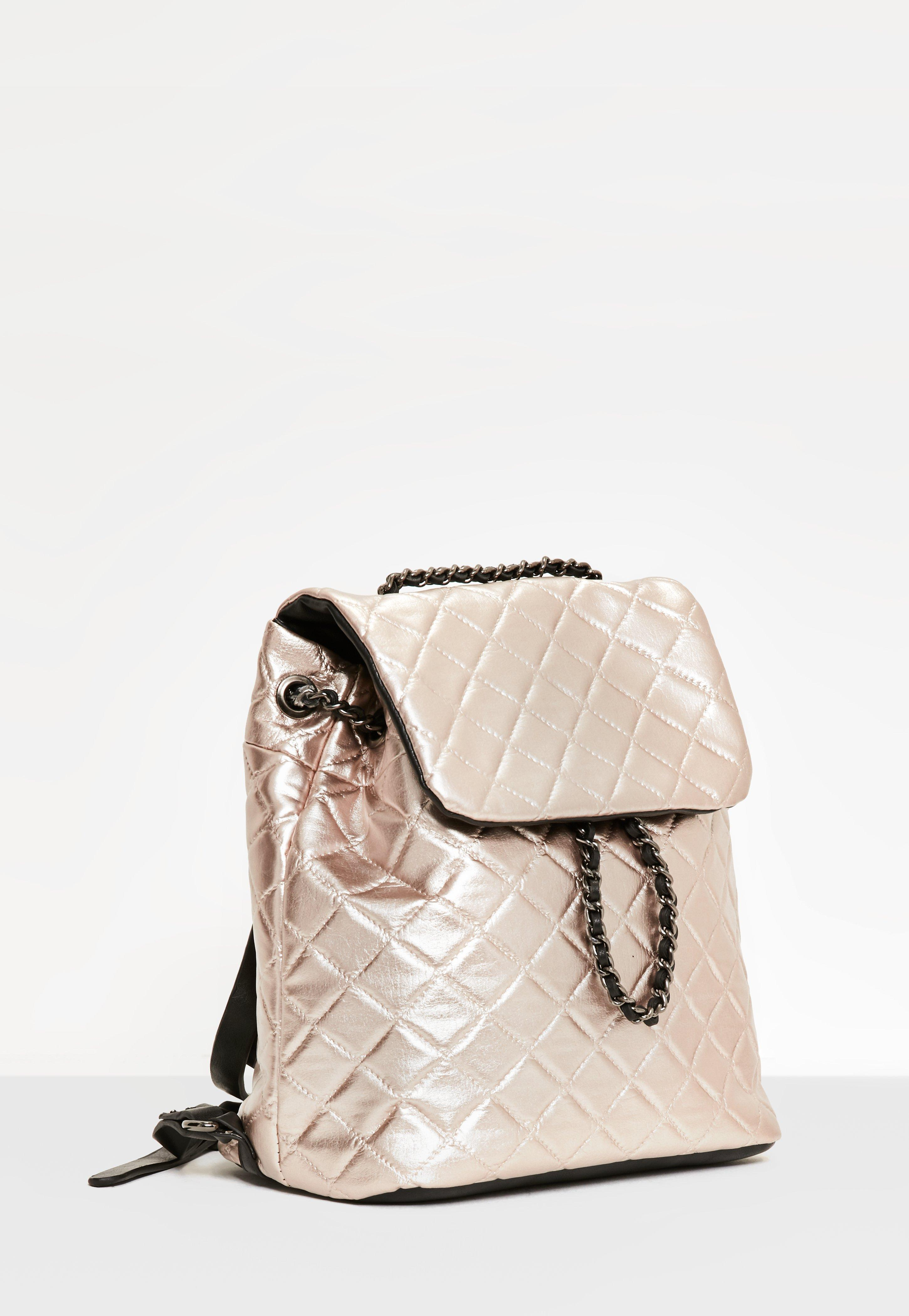 Missguided Rose Gold Quilted Chain Backpack