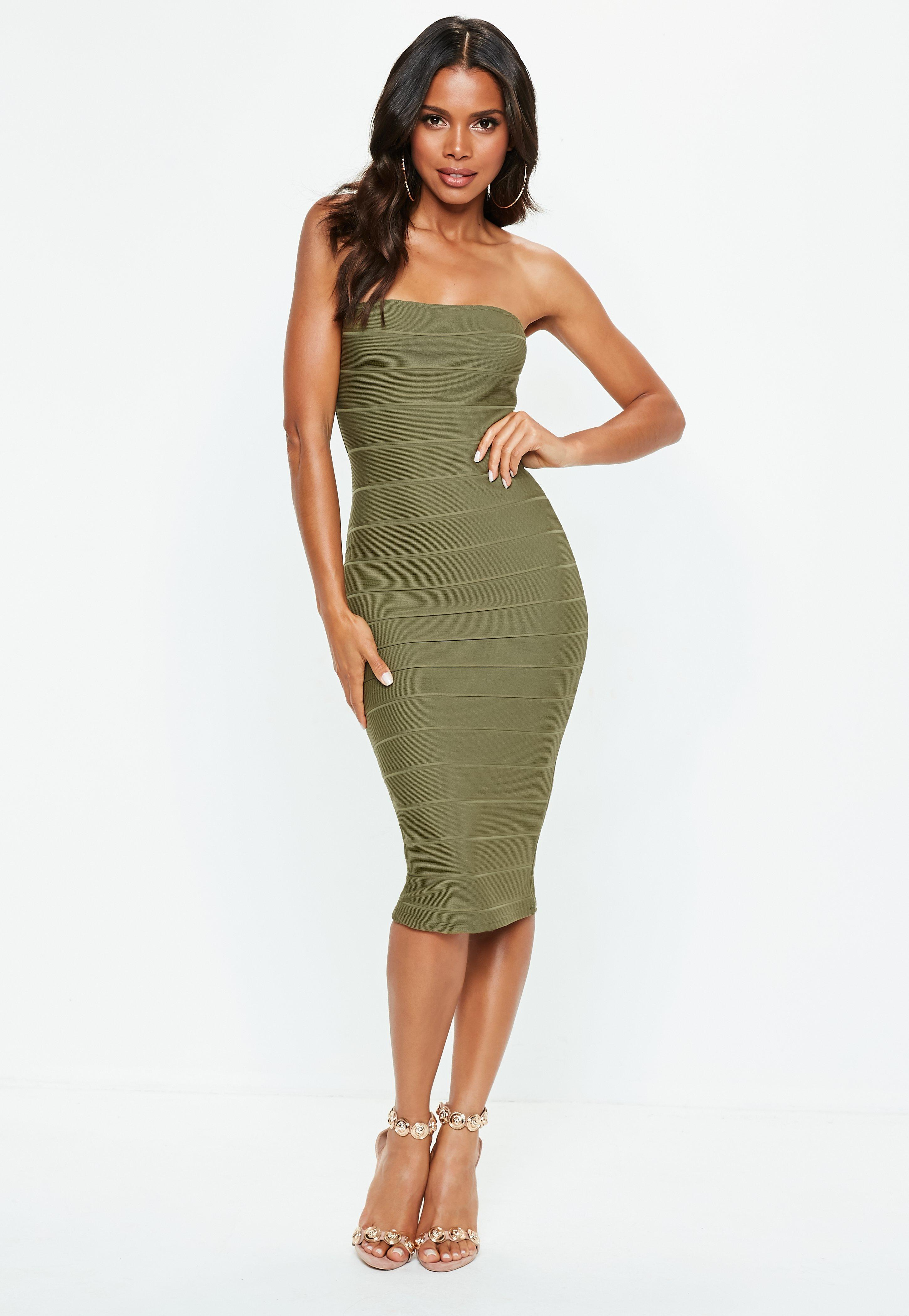 e0fcf6f3ba Lyst - Missguided Khaki Bandeau Bandage Midi Dress in Green