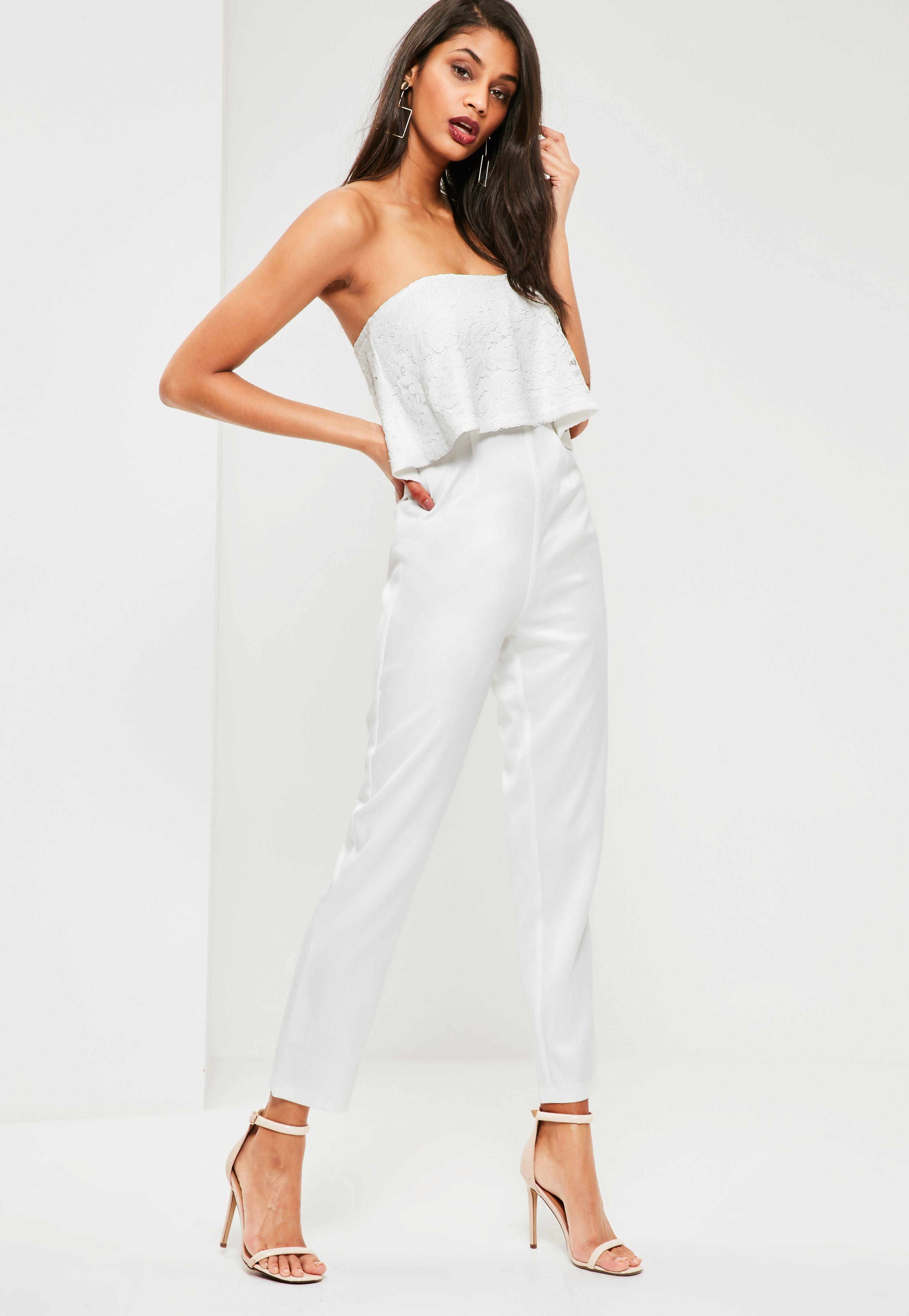 4c9d99b25427 Missguided White Lace Top Bandeau Jumpsuit in White - Lyst