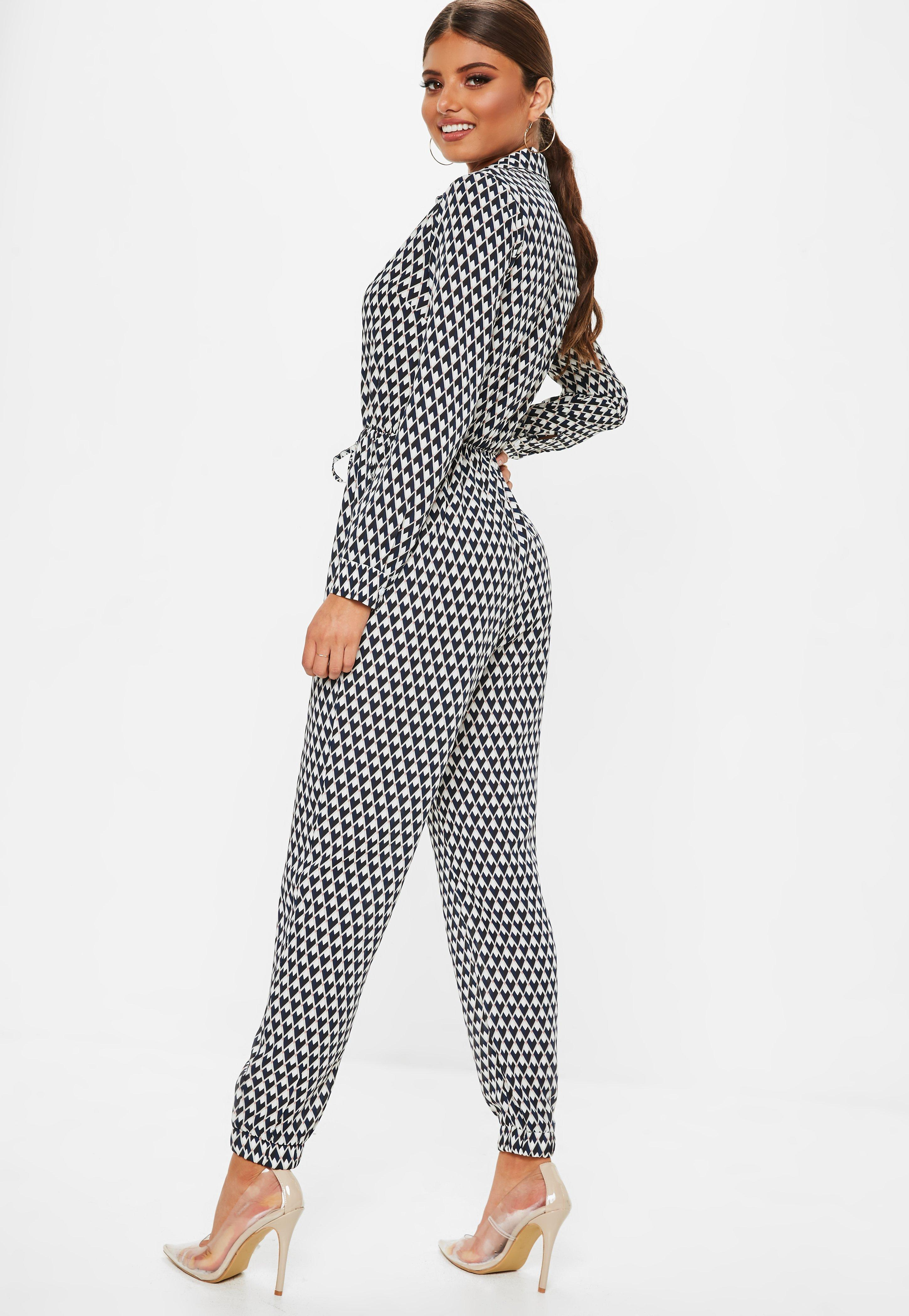 1cdb087785 Lyst - Missguided Navy Geometric Print Utility Jumpsuit in Blue