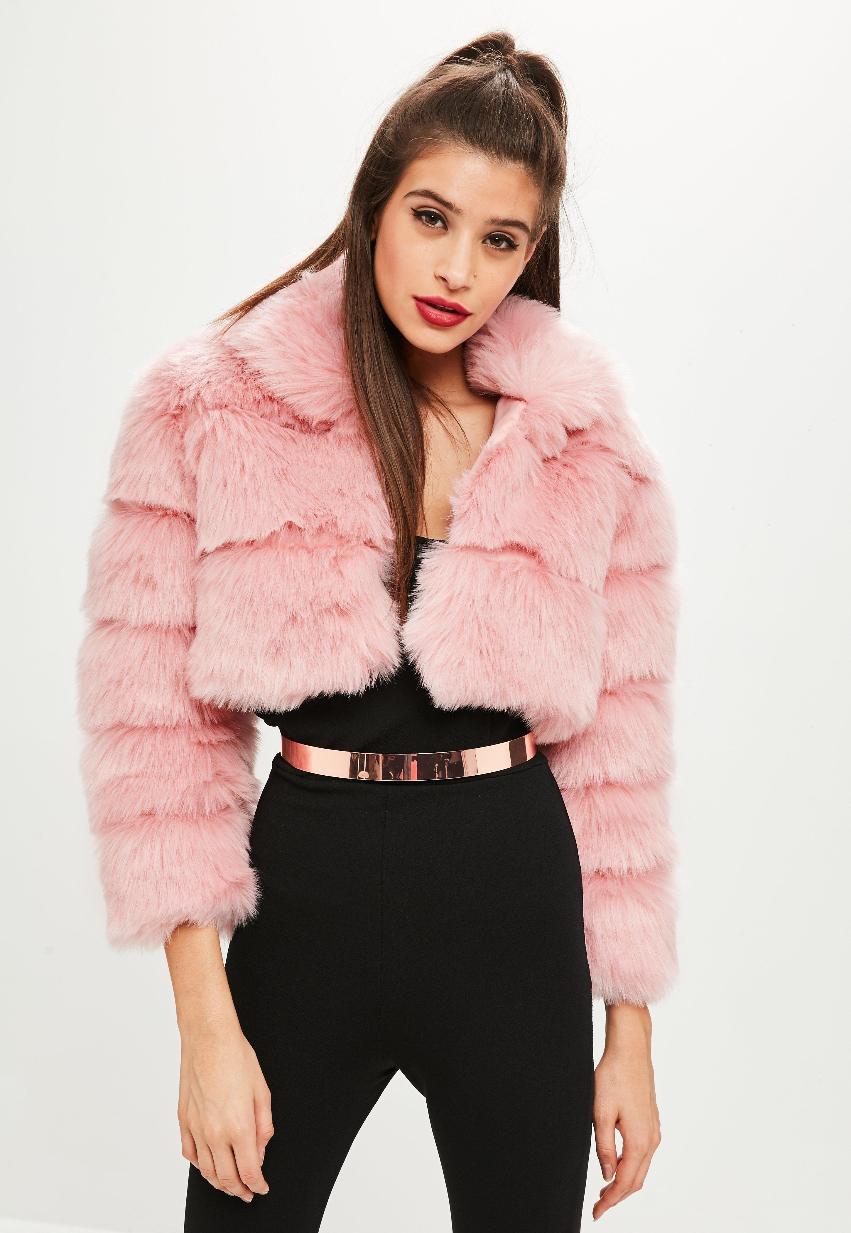2a5bf64ad55f Missguided Petite Pink Cropped Pelted Faux Fur Coat in Pink - Lyst