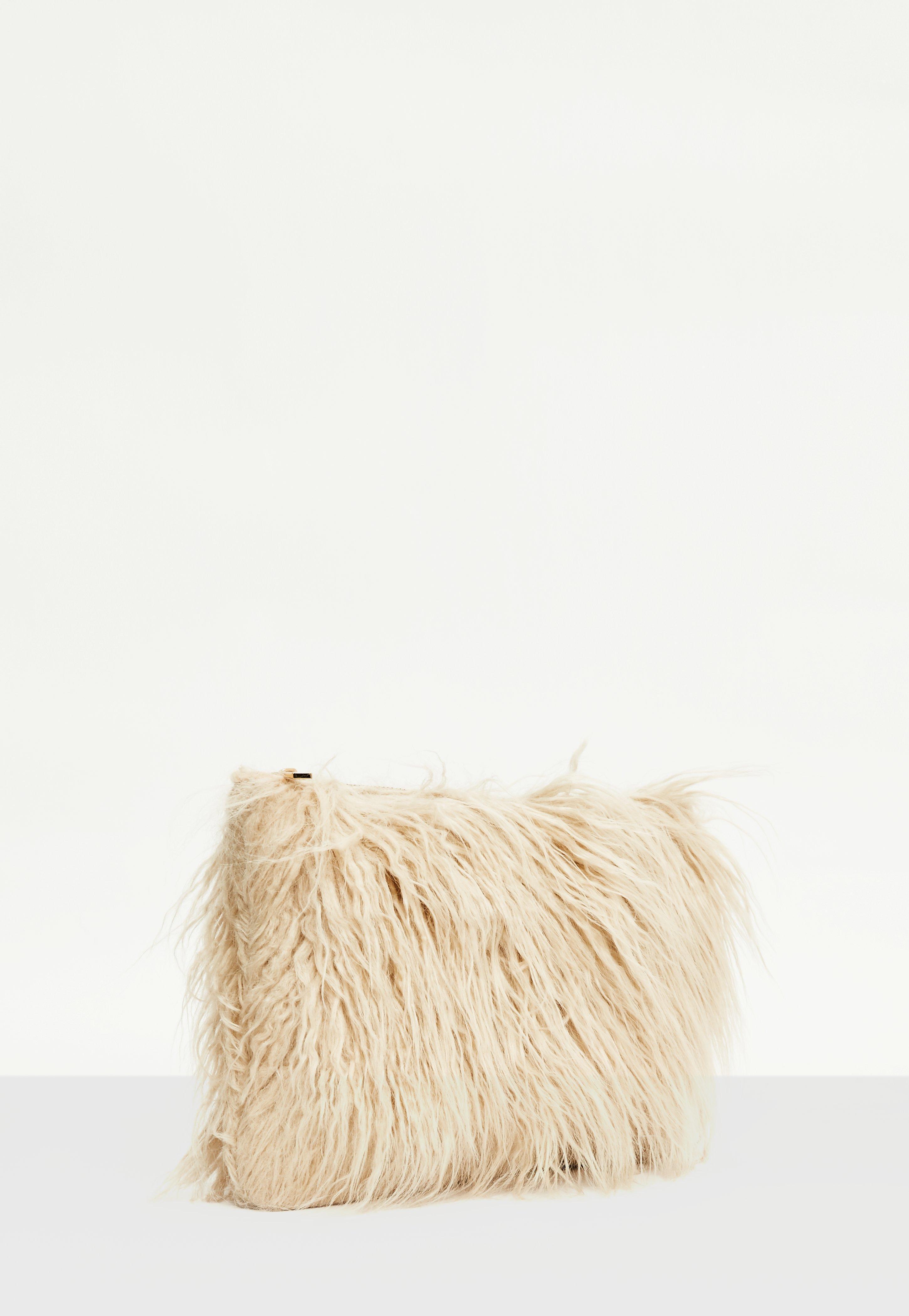 Lyst - Missguided Cream Mongolian Faux Fur Clutch Bag d8c4250ec5a4c