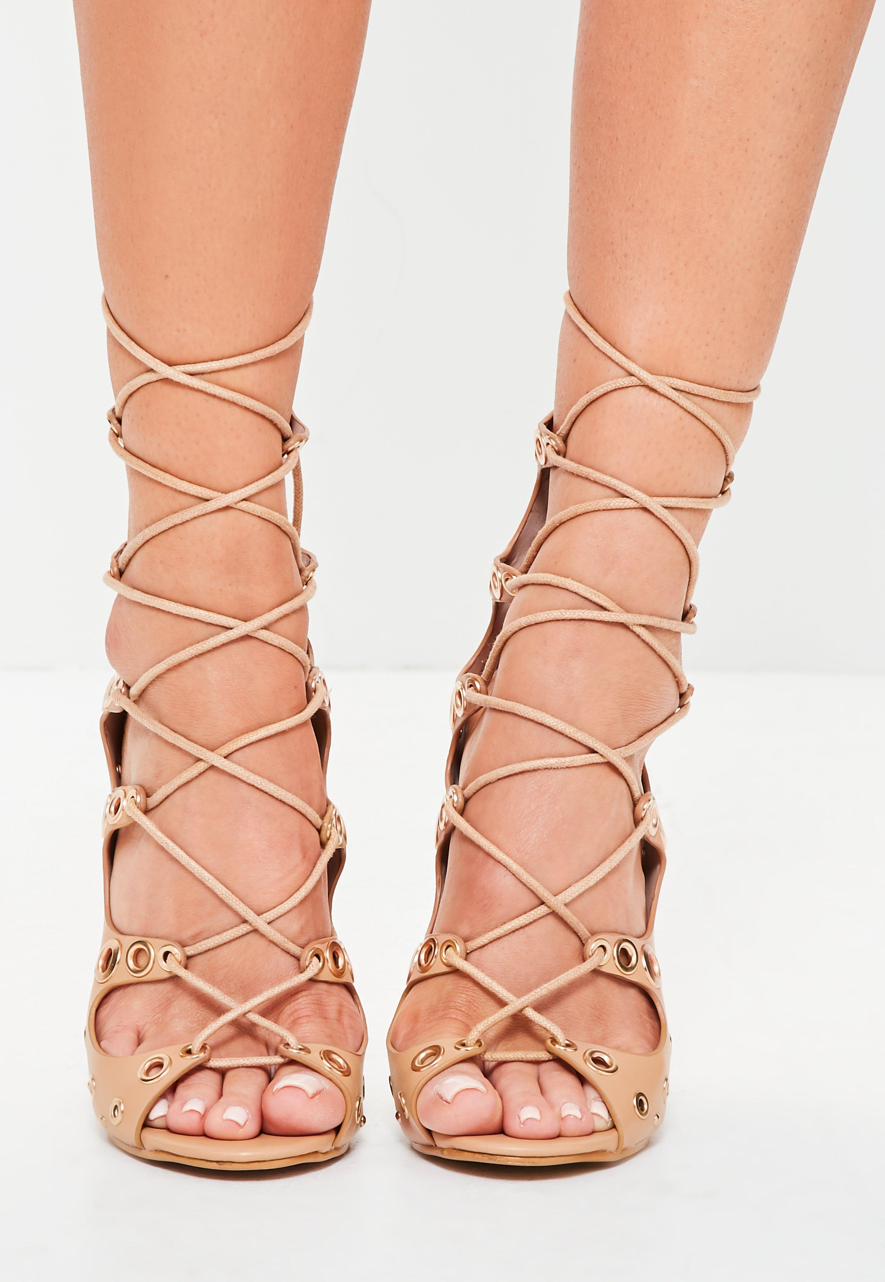 8cbabc054e1 Lyst - Missguided Nude Gold Eyelet And Stud Gladiator Heels in Natural