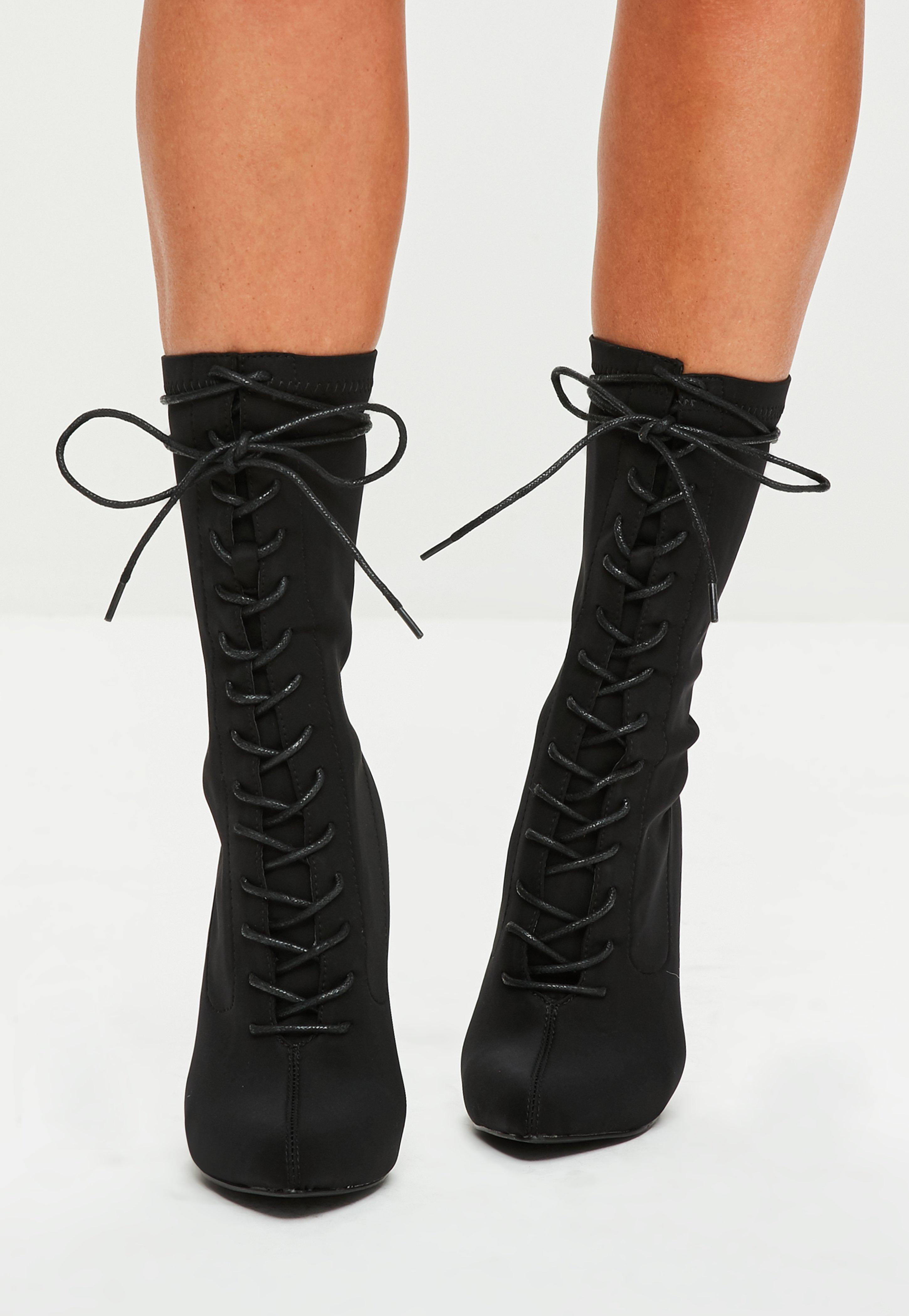 Black Corset Lace Up Pointed Boots