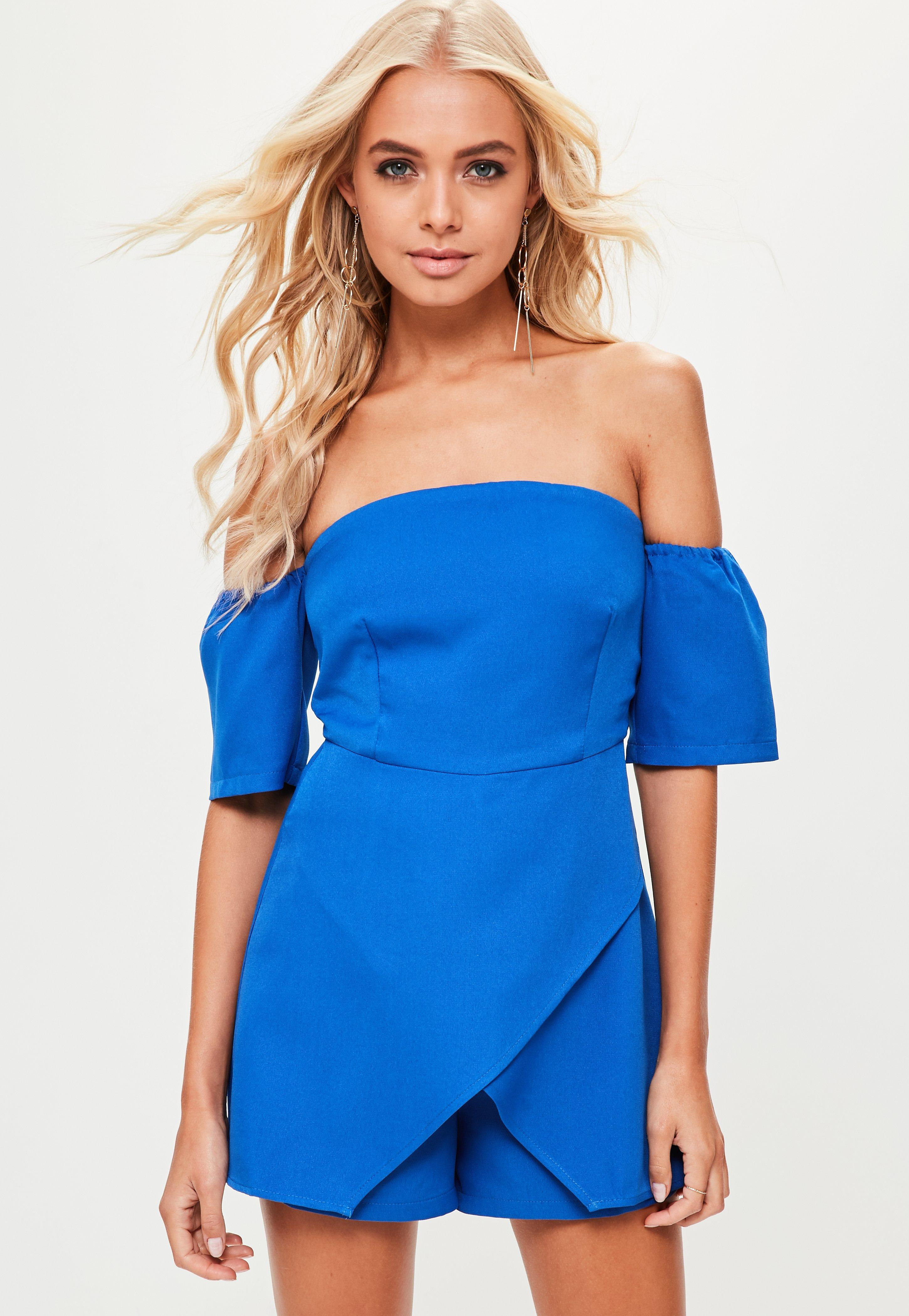 d77912f74a Missguided Blue Bardot Skort Playsuit in Blue - Save ...