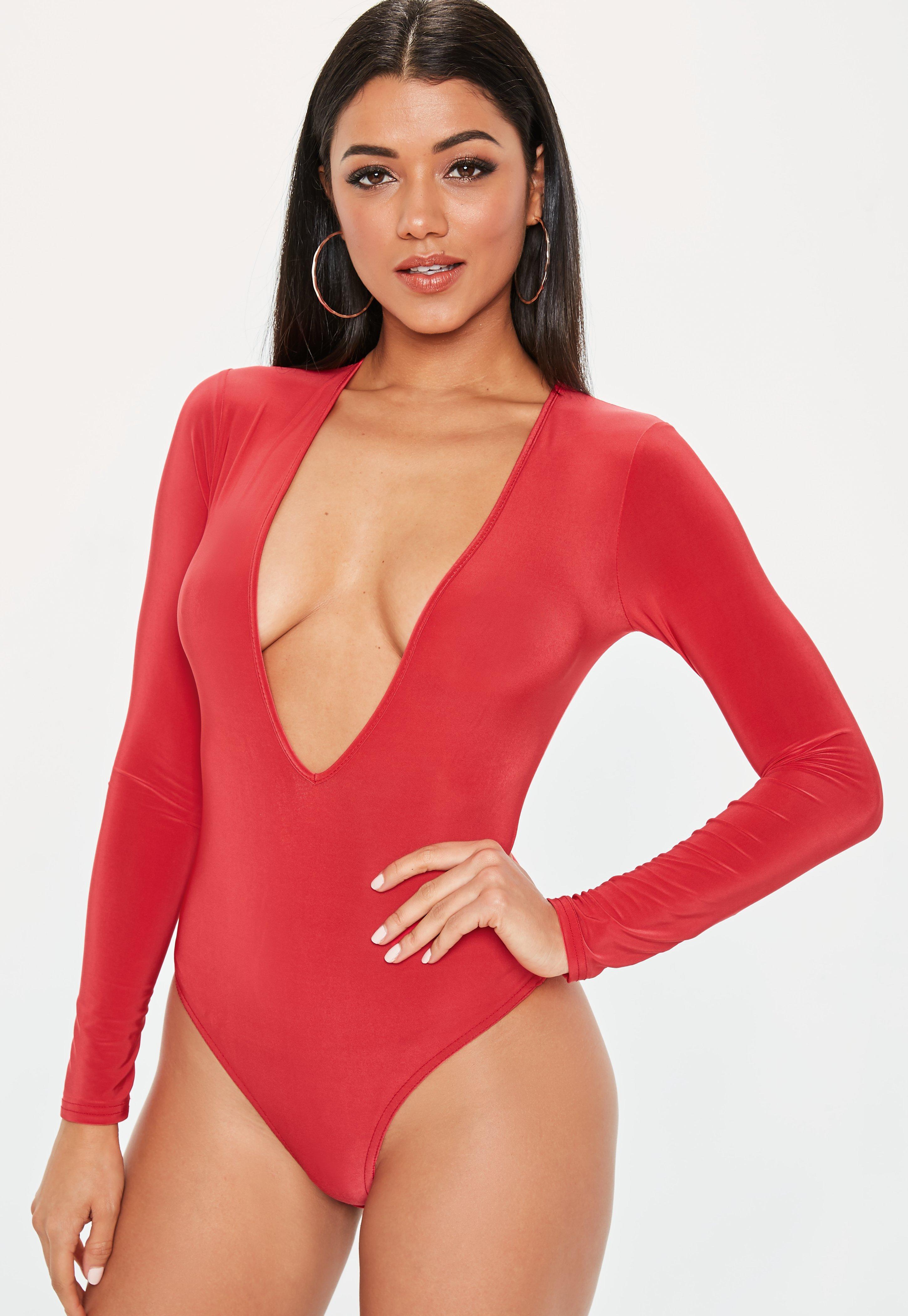 8314d30886cee Missguided - Red V Neck Long Sleeve Slinky Bodysuit - Lyst. View fullscreen