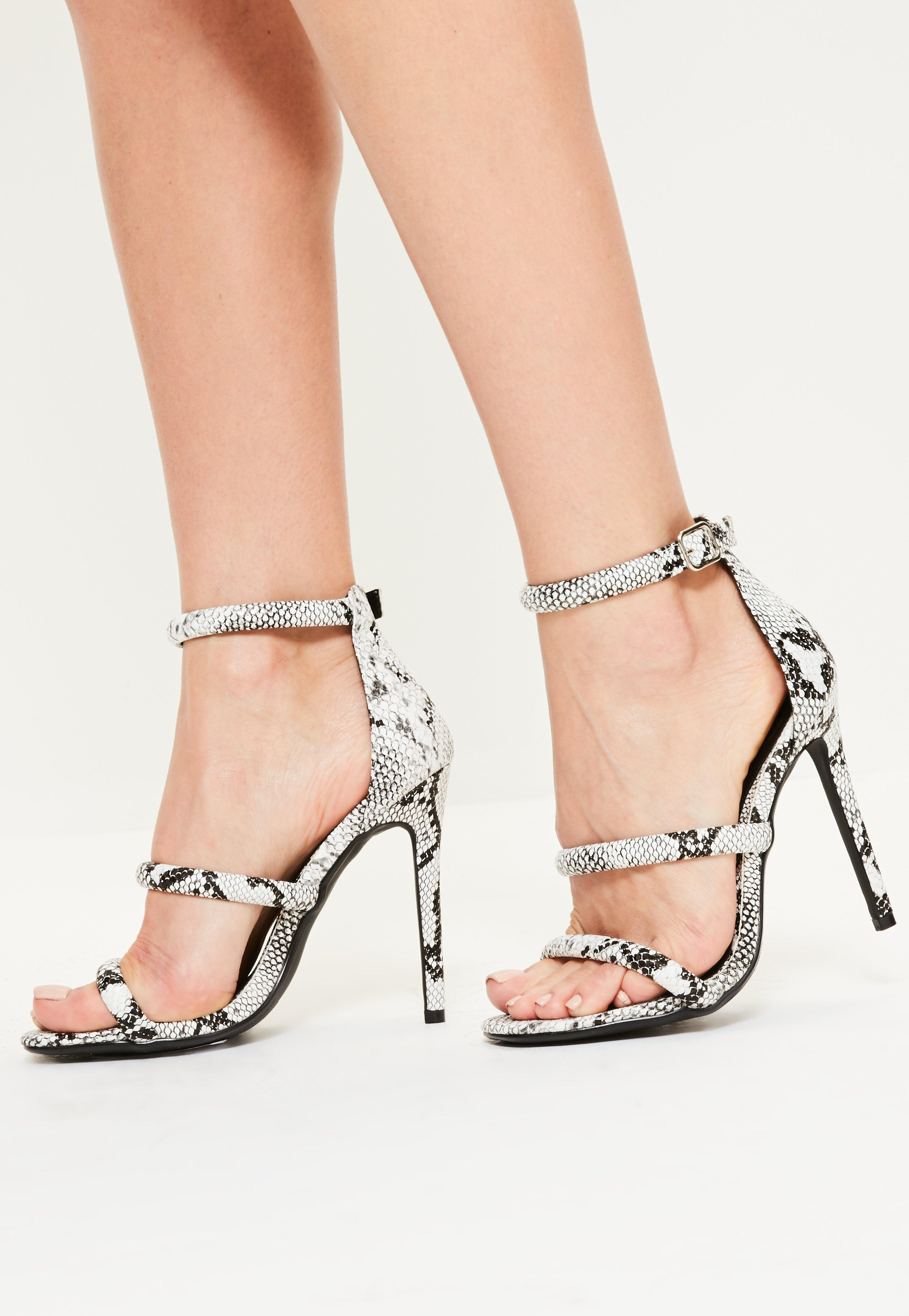 8354f16a940d Lyst - Missguided Grey Snake Print 3 Strap Barely There Heels in Gray