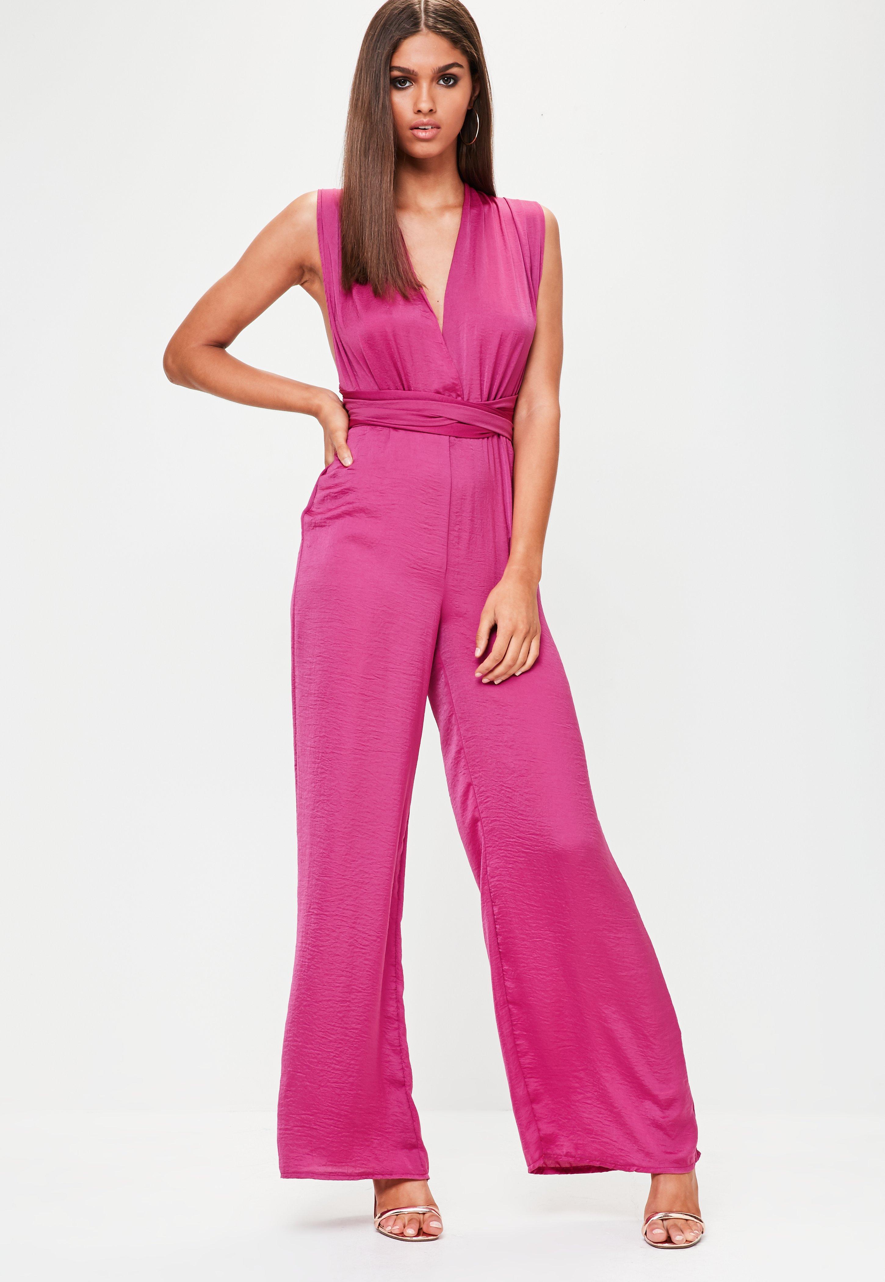 b0ccfb0d19fb Lyst - Missguided Purple Satin Multi Way Wide Leg Jumpsuit in Purple