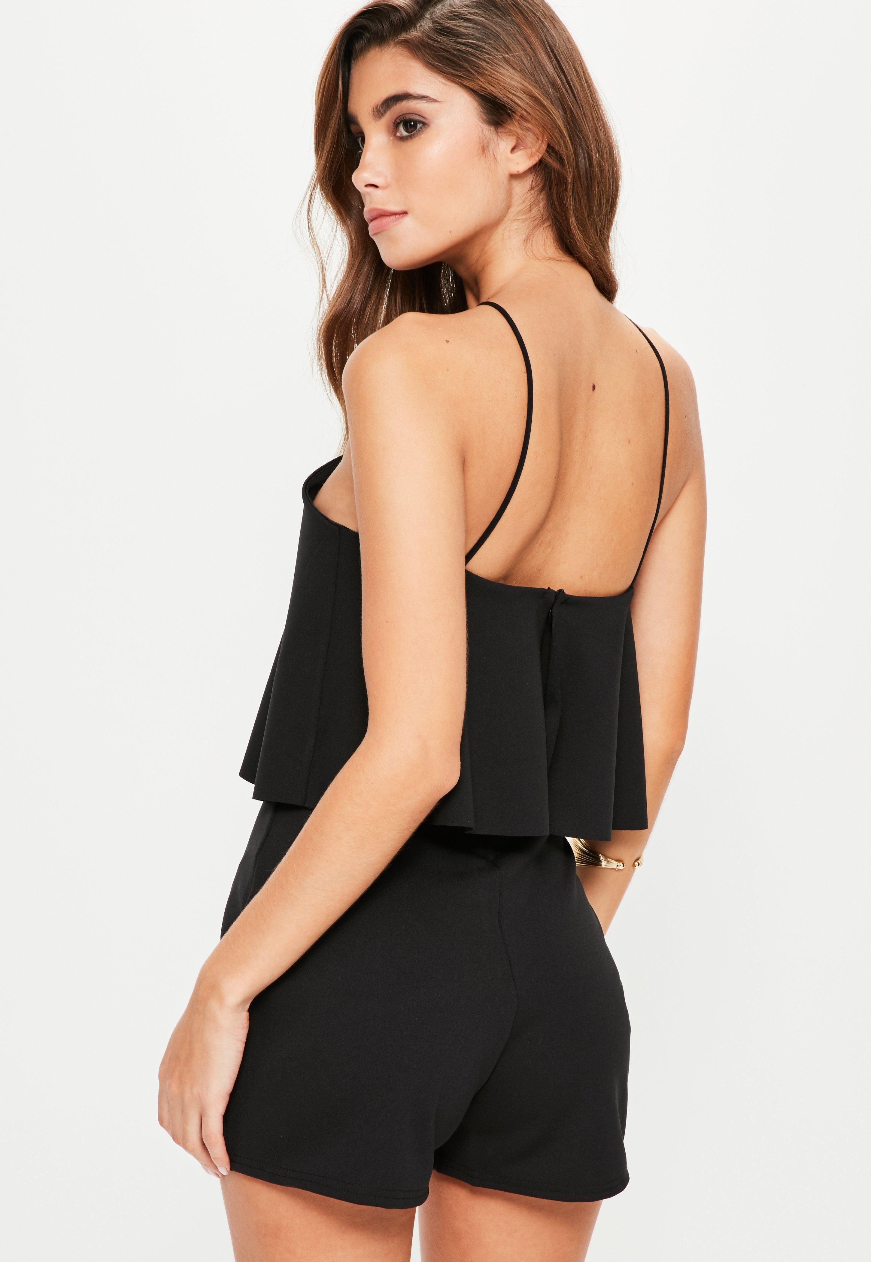 862ef2762a0 Lyst - Missguided Black Halterneck Double Layer Scuba Playsuit in Black