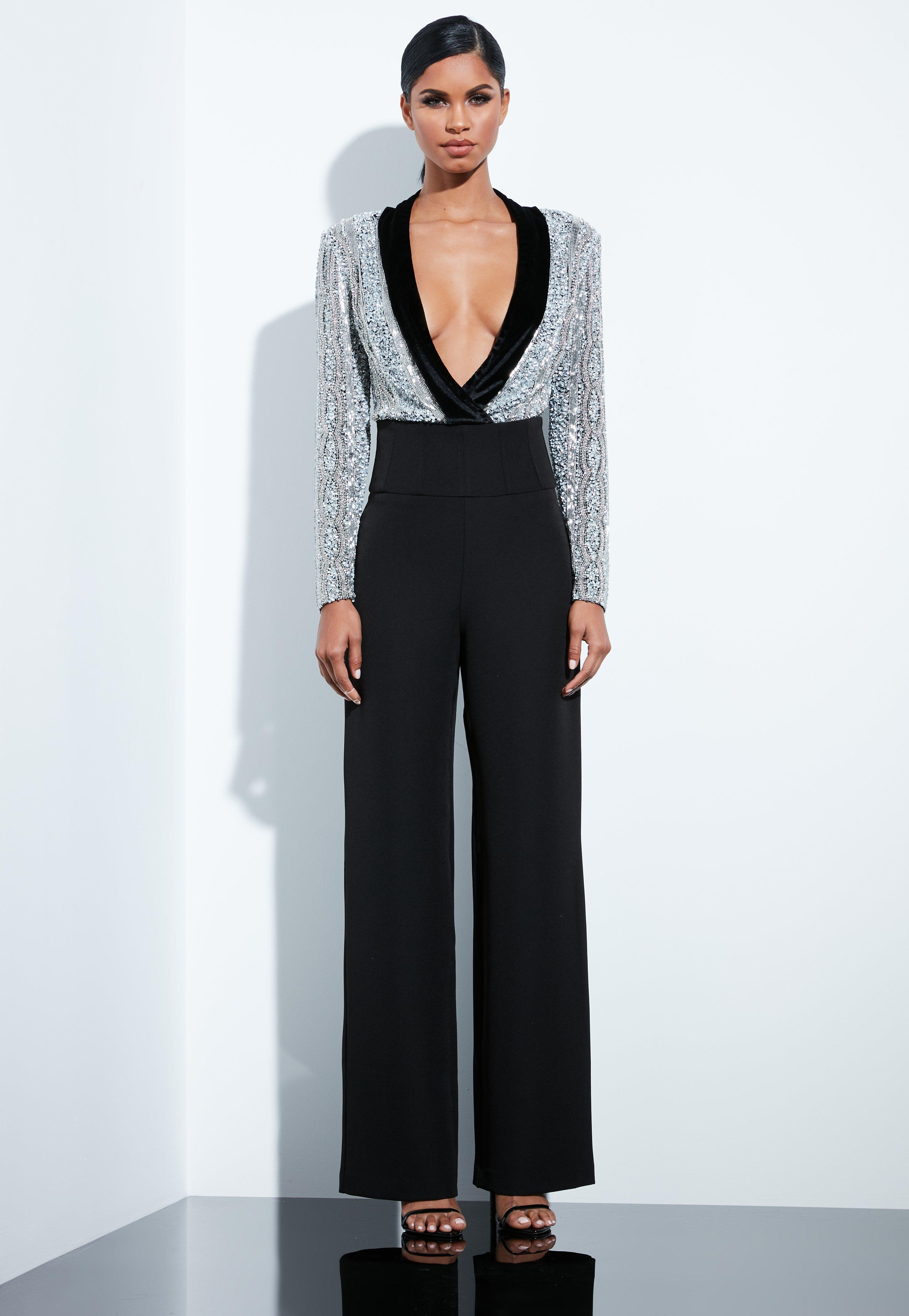 b11dcad63bd3 Missguided Silver Sequin Beaded Plunge Bodysuit in Metallic - Lyst