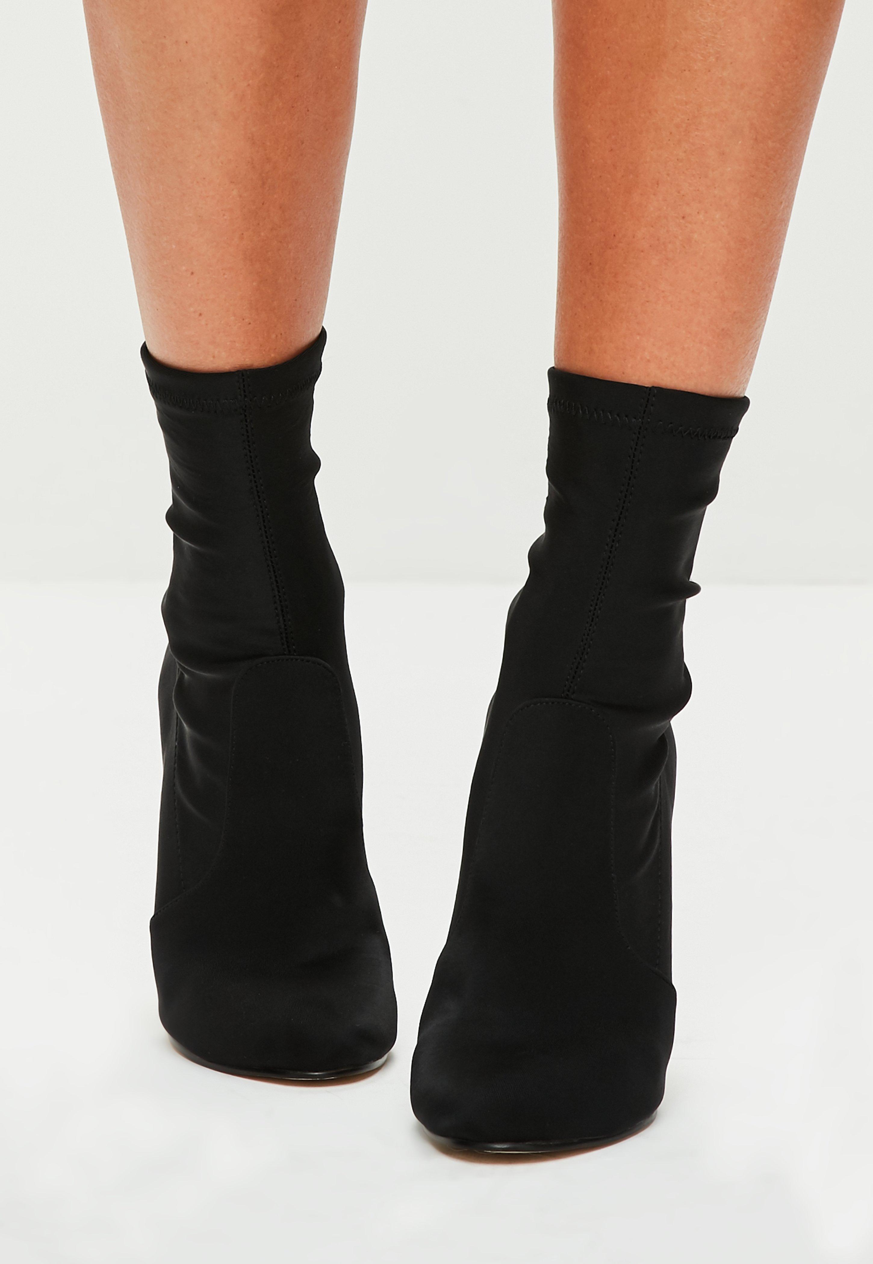Black Satin Round Toe Ankle Boots