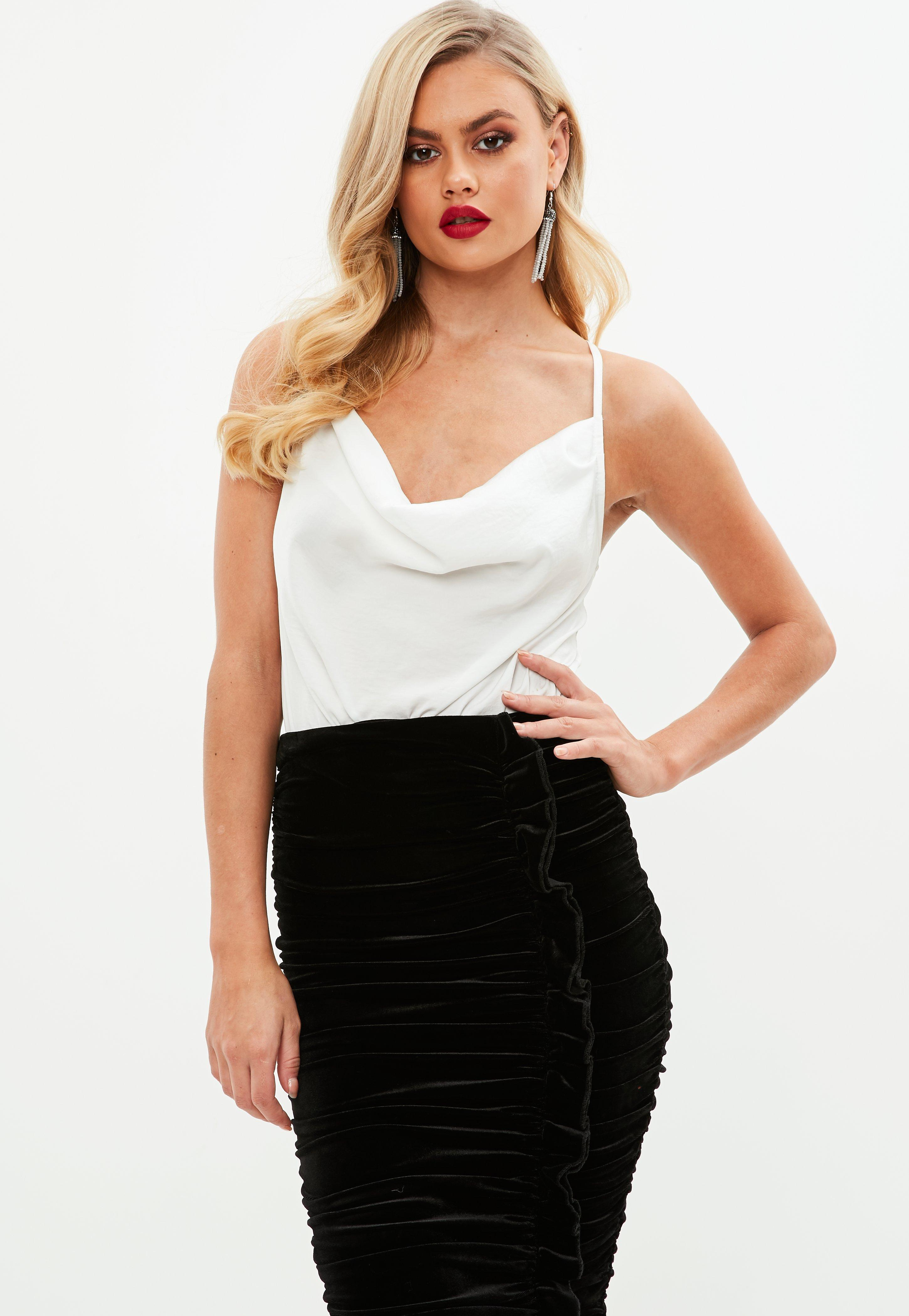 42d5396b9d7 Missguided White Satin Strappy Cowl Front Bodysuit