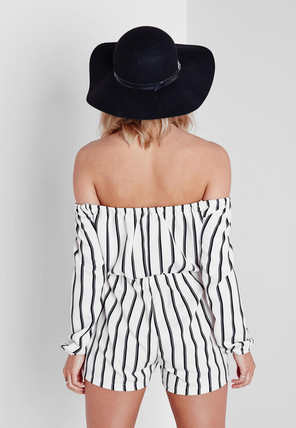 a6a470ff17f Lyst - Missguided White Striped Bardot Playsuit in White - Save 19%