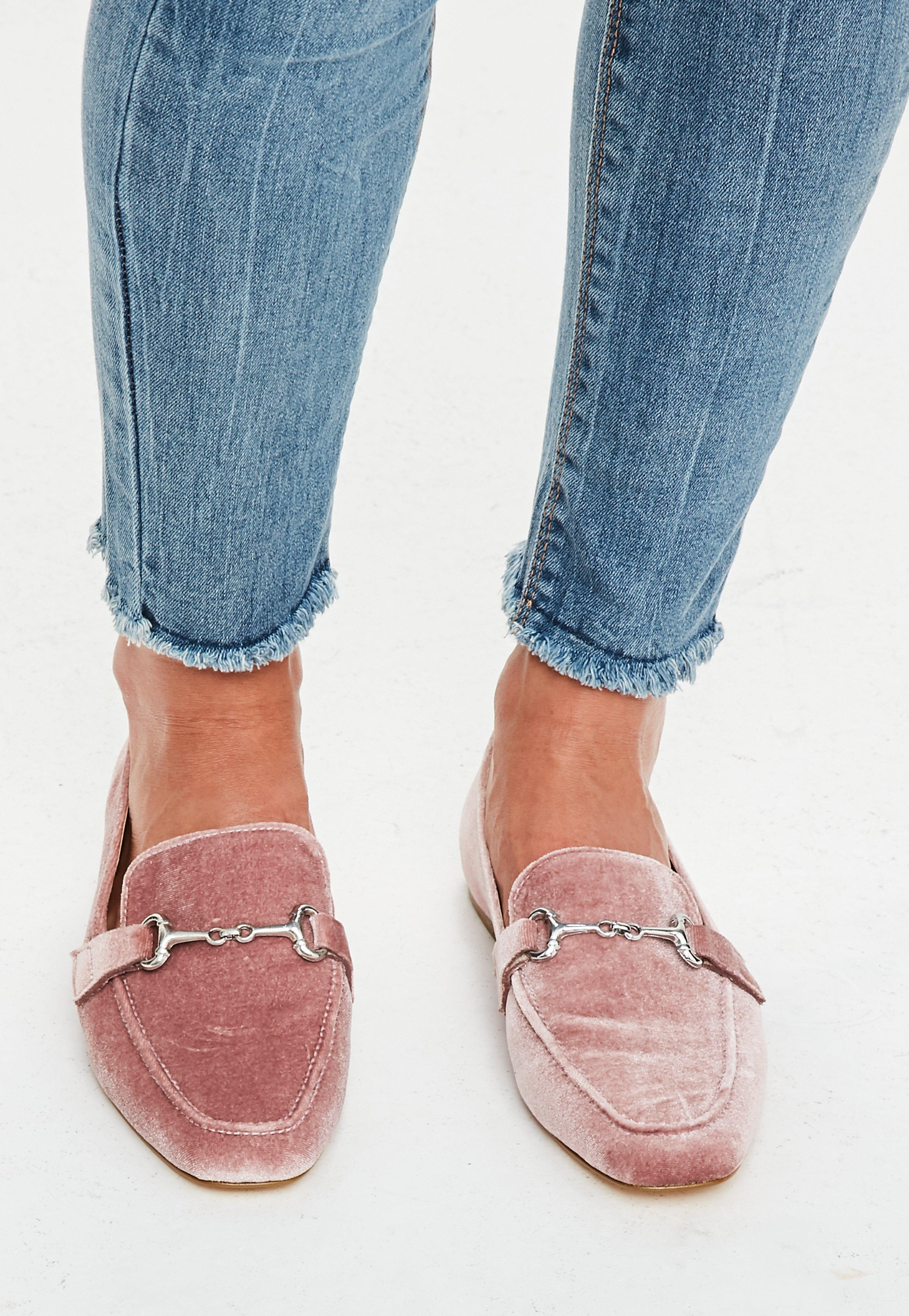 Missguided Pink Velvet Loafers - Lyst