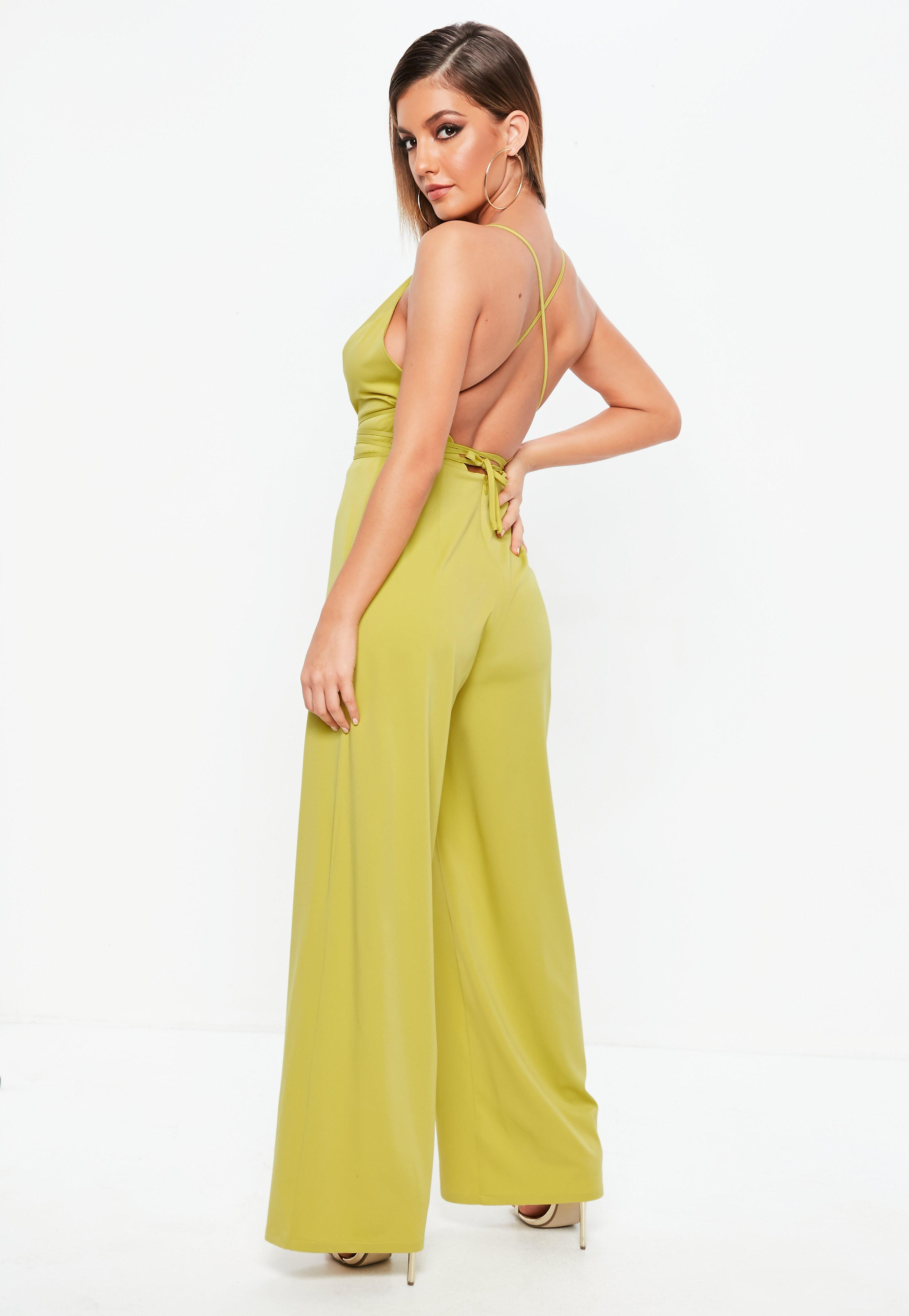 e9e48aedcd Missguided Chartreuse Plunge Multi Wrap Jumpsuit in Yellow - Lyst