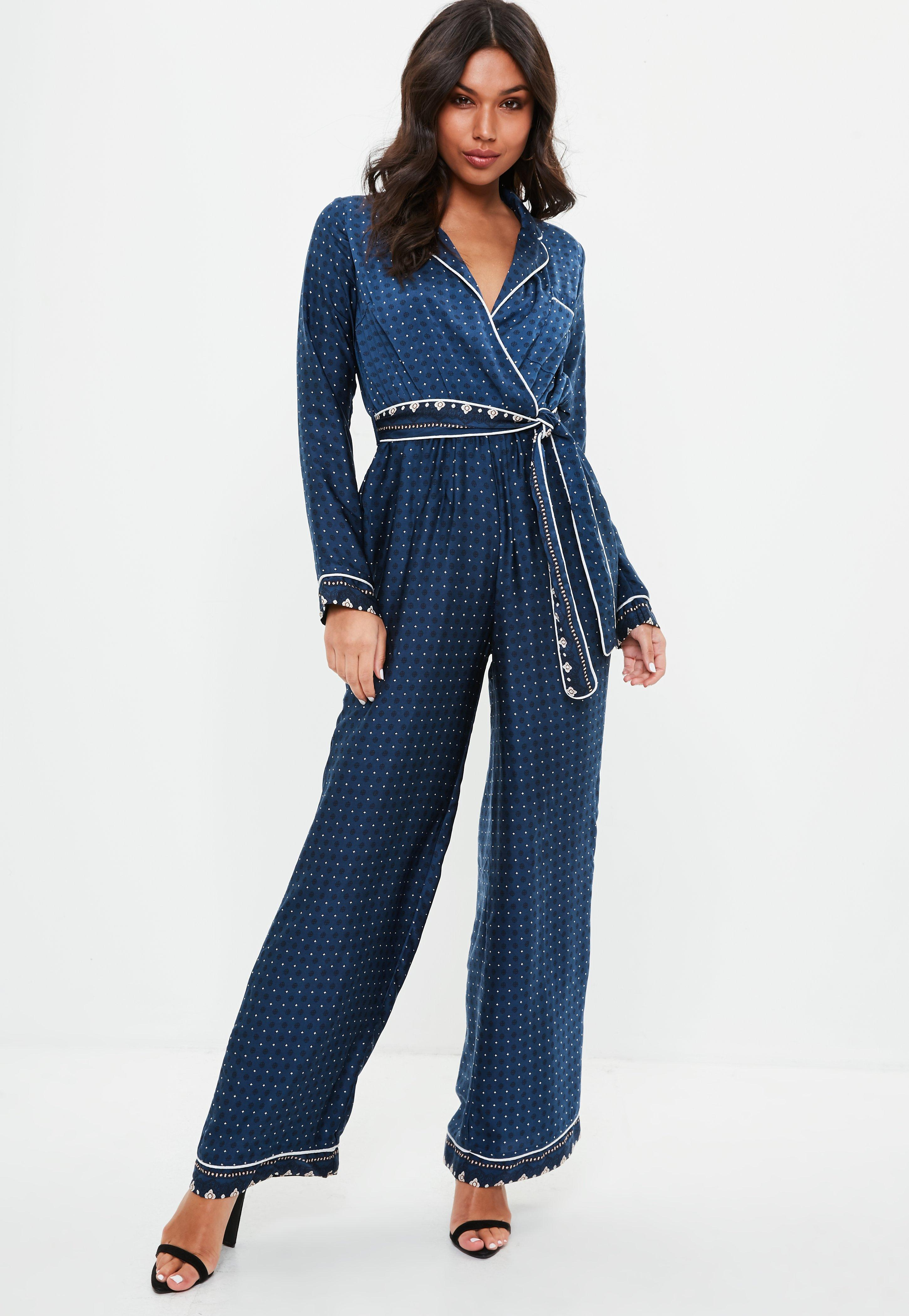 51b258221dc Missguided Navy Contrast Print Pajamas Jumpsuit in Blue - Lyst