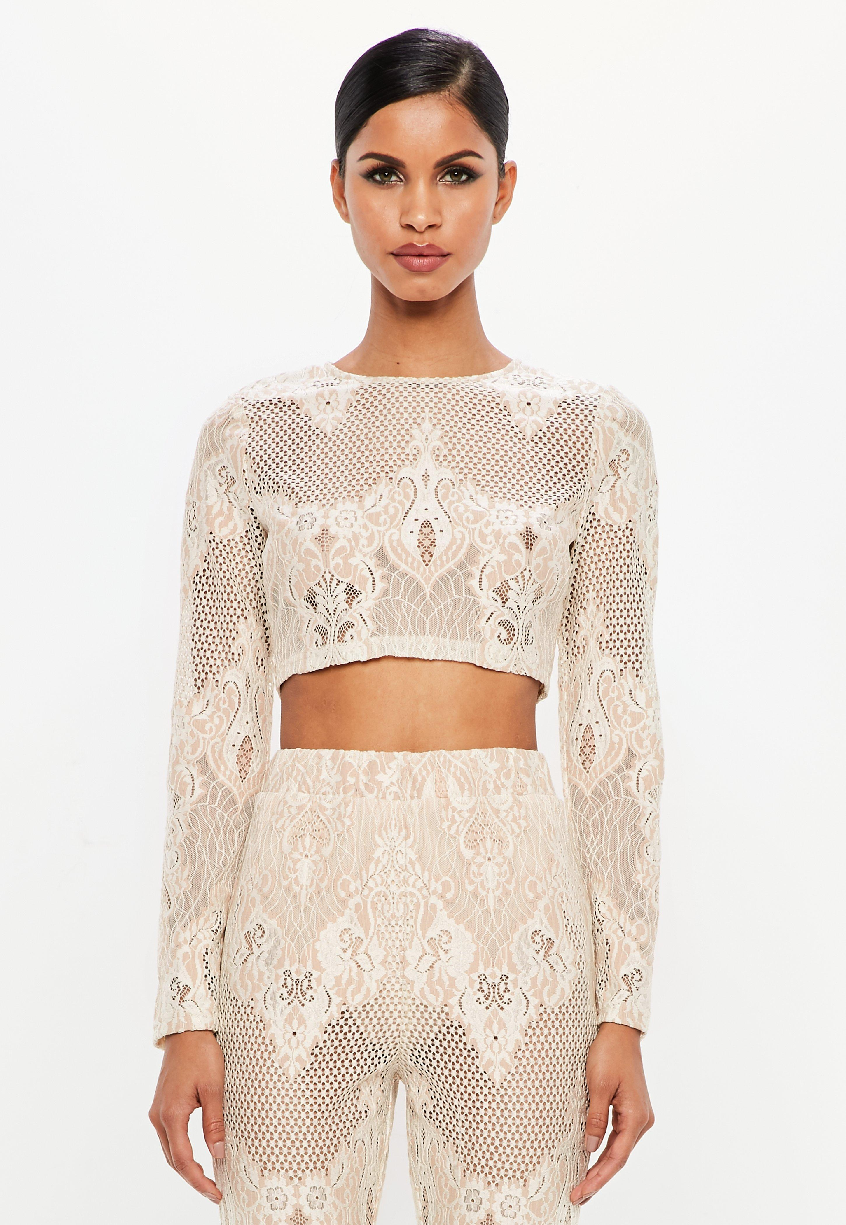 2842b938db3 Lyst - Missguided Peace + Love Nude Lace Long Sleeve Crop Top in Natural