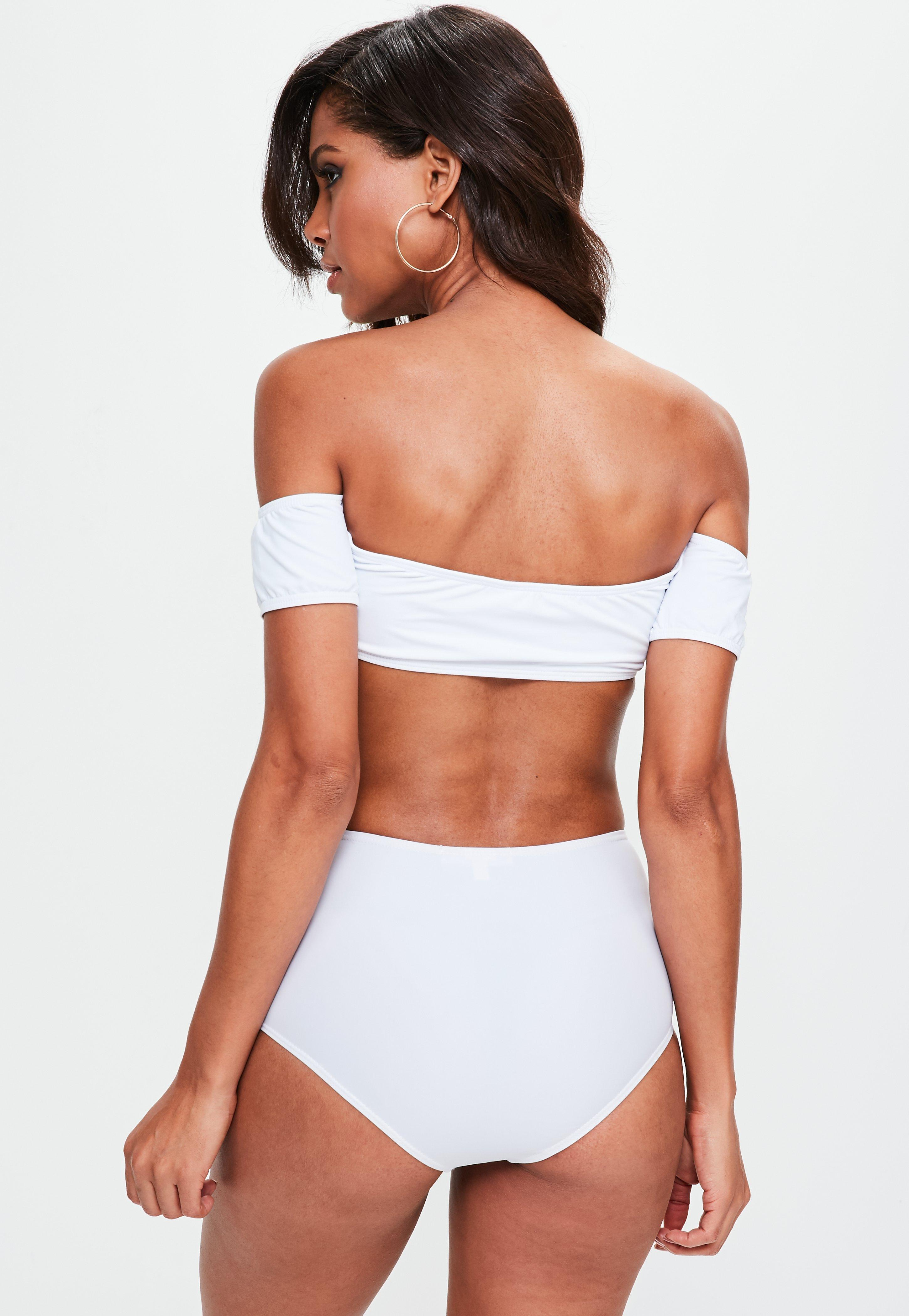 70ff5db03a Lyst - Missguided White Bardot Bikini Top - Mix match in White