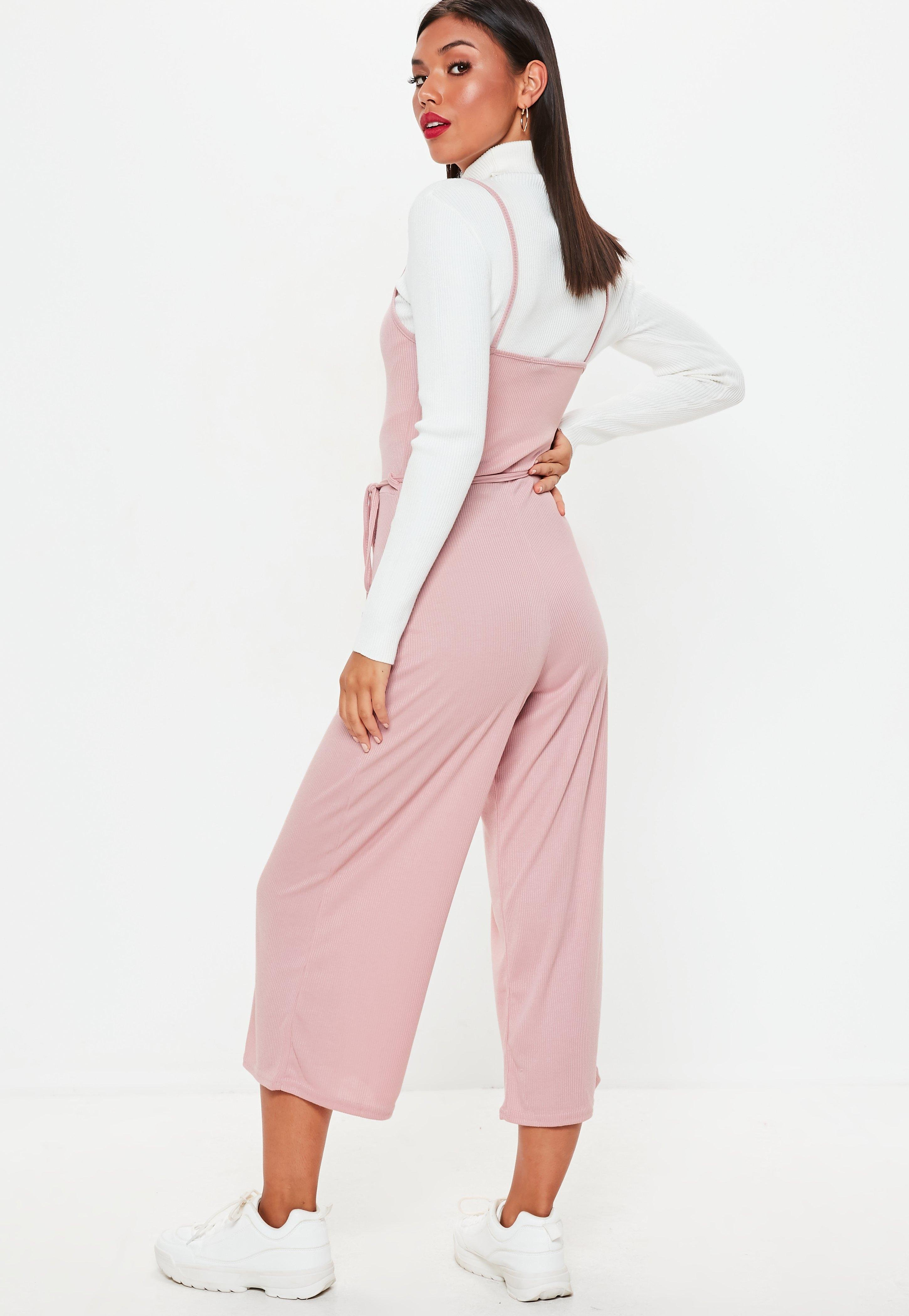 ca3ee1aa772d Lyst - Missguided Pink Rib Cami Culotte Jumpsuit in Pink - Save 27%