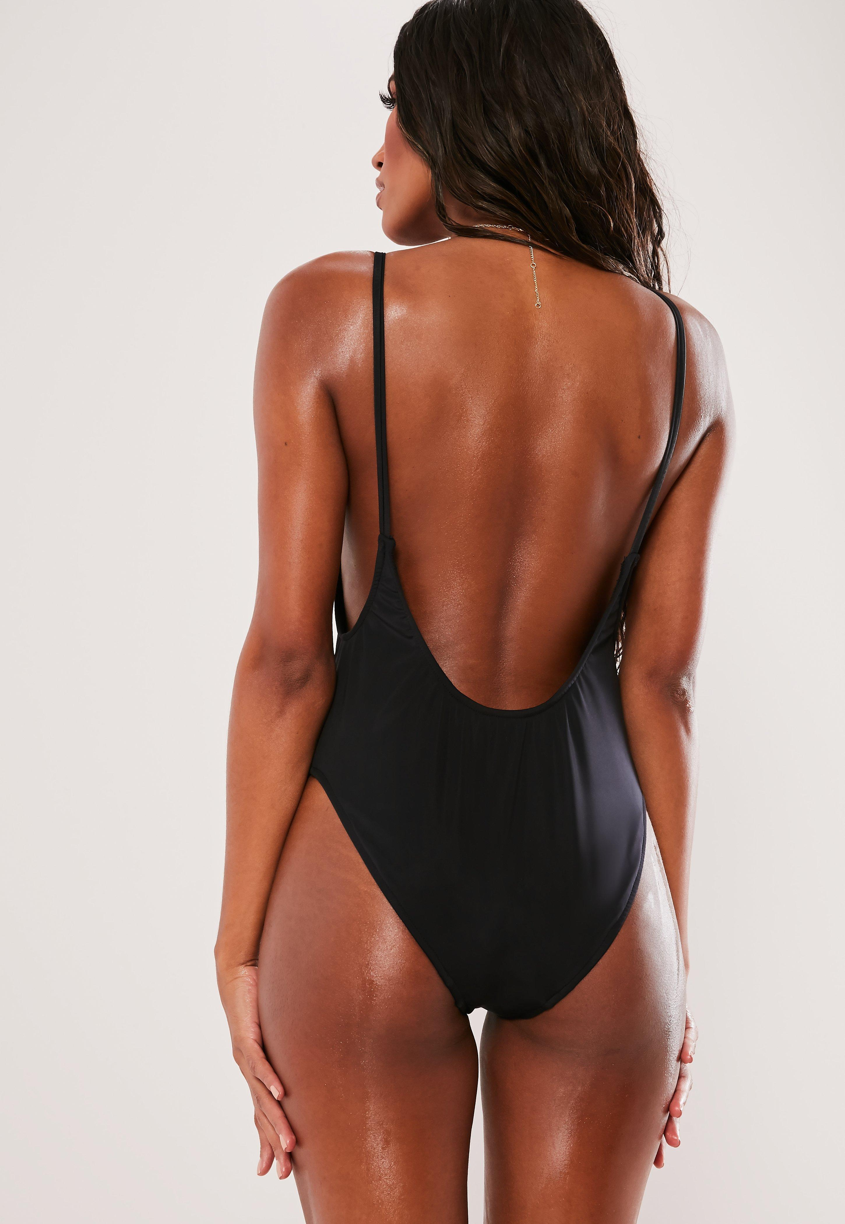 d3488e8e5866a Missguided - Black Scoop High Leg Swimsuit - Lyst. View fullscreen