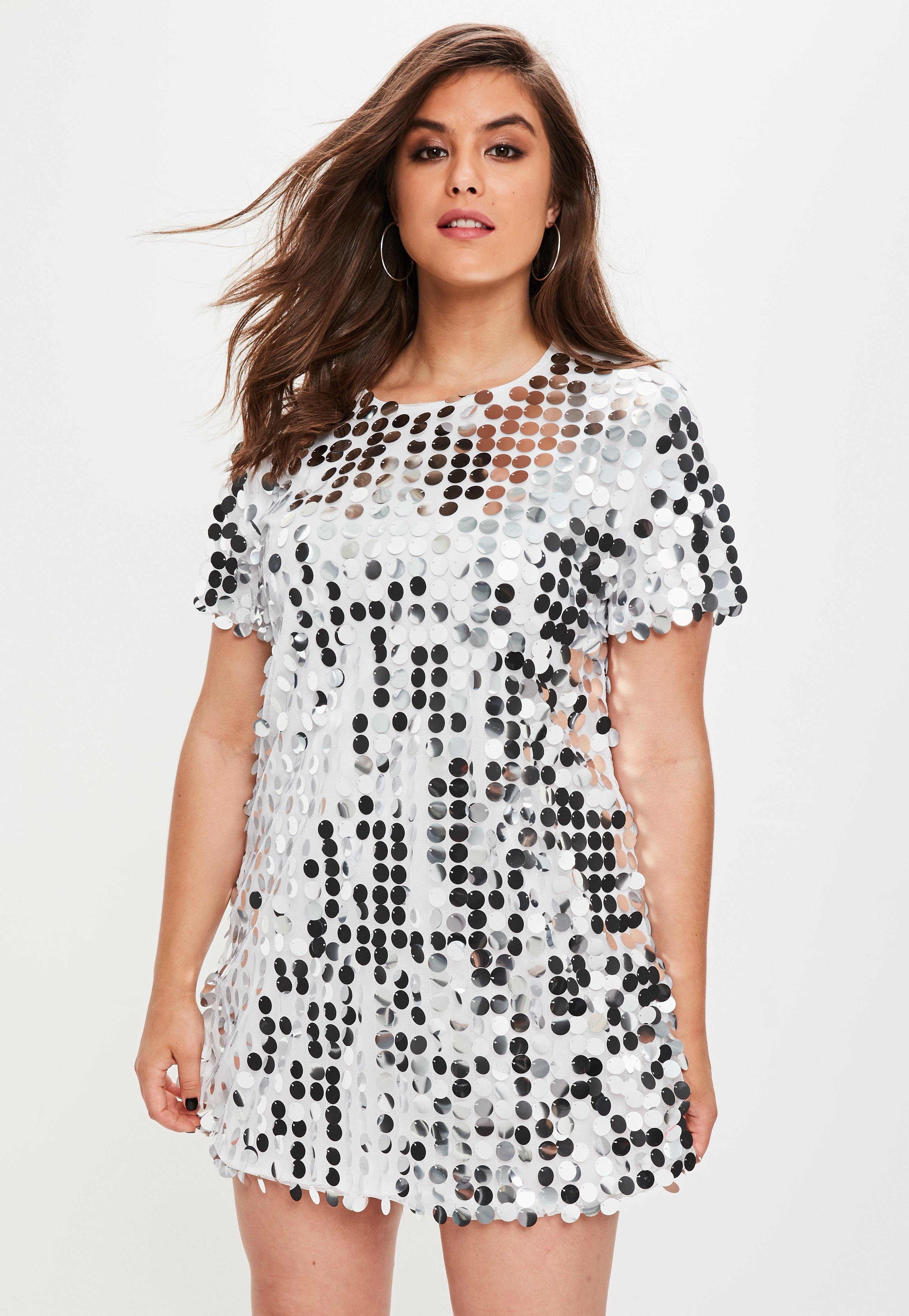 plus size sequin t shirt dress