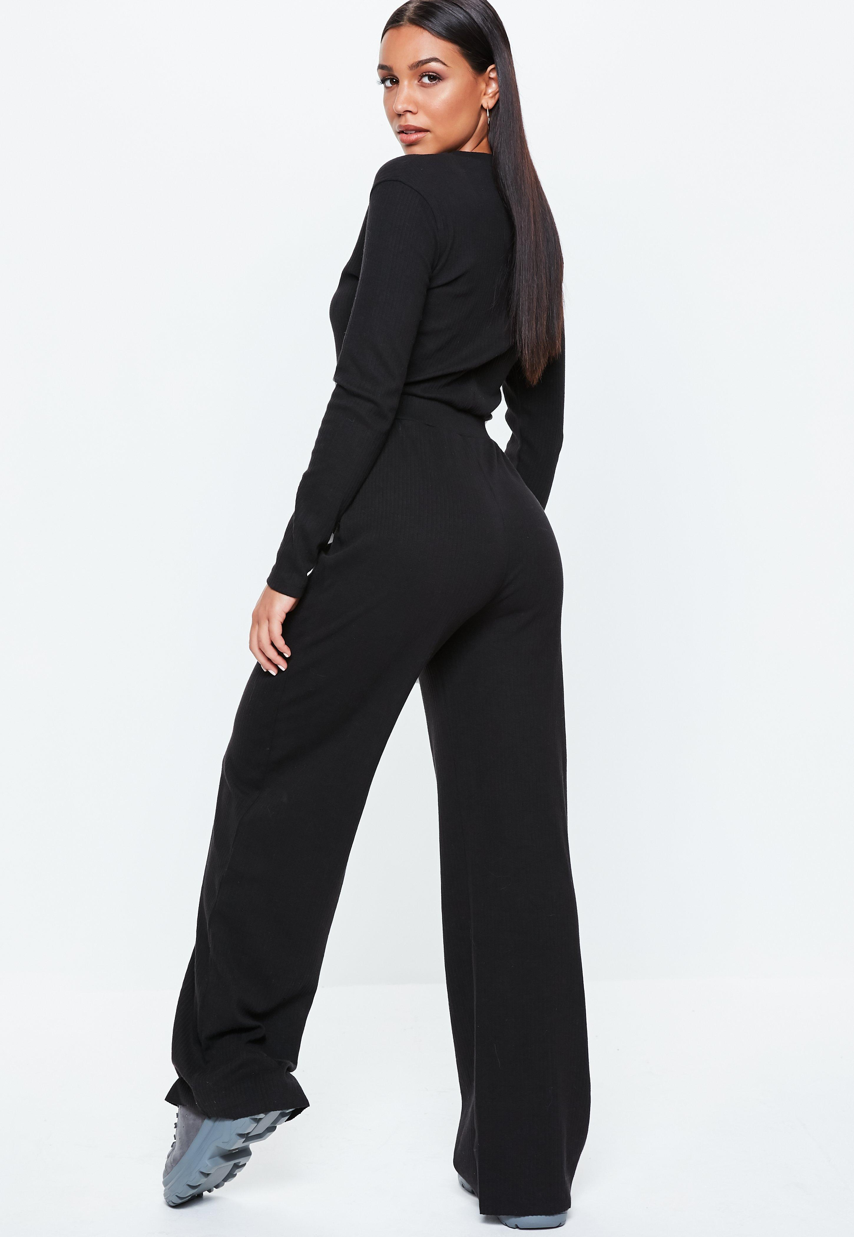 f28efa0fbb6 Missguided - Black Horn Button Ribbed Jumpsuit - Lyst. View fullscreen
