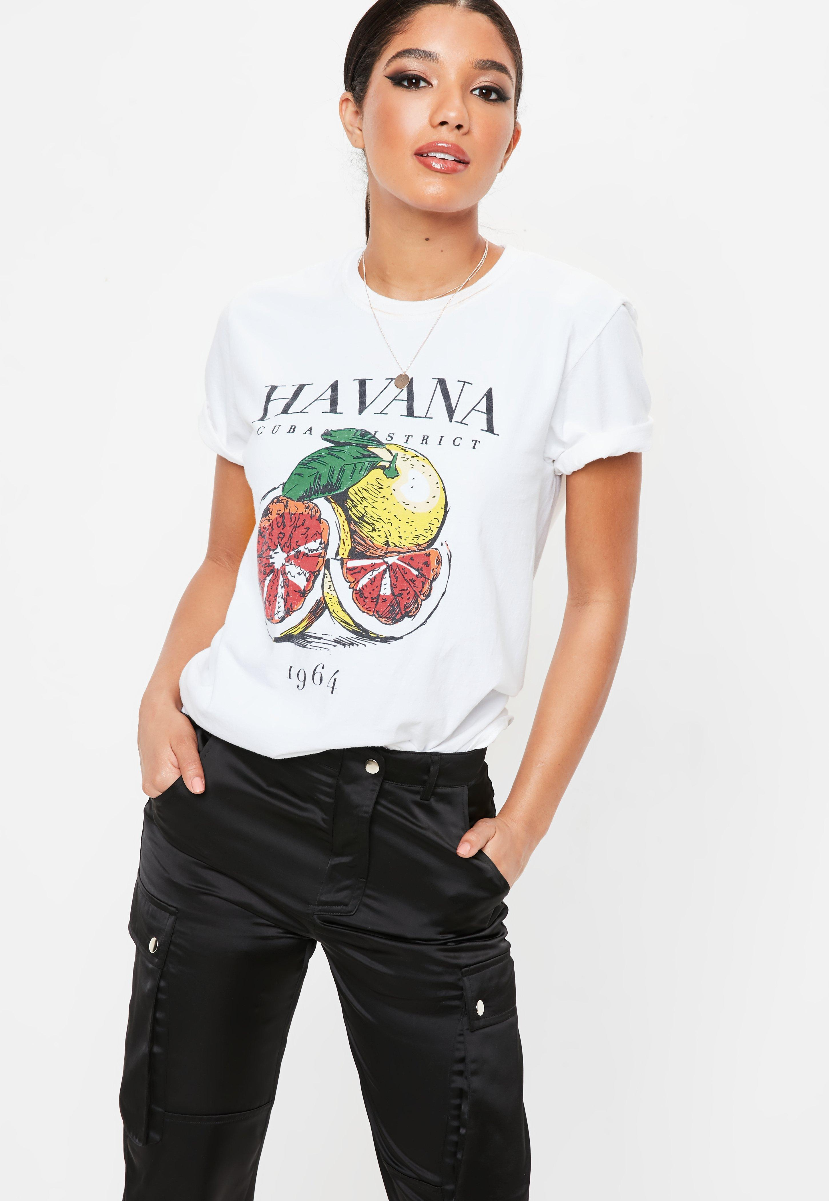 ecc6415b7 Lyst - Missguided White Havana Washed Graphic T Shirt in White