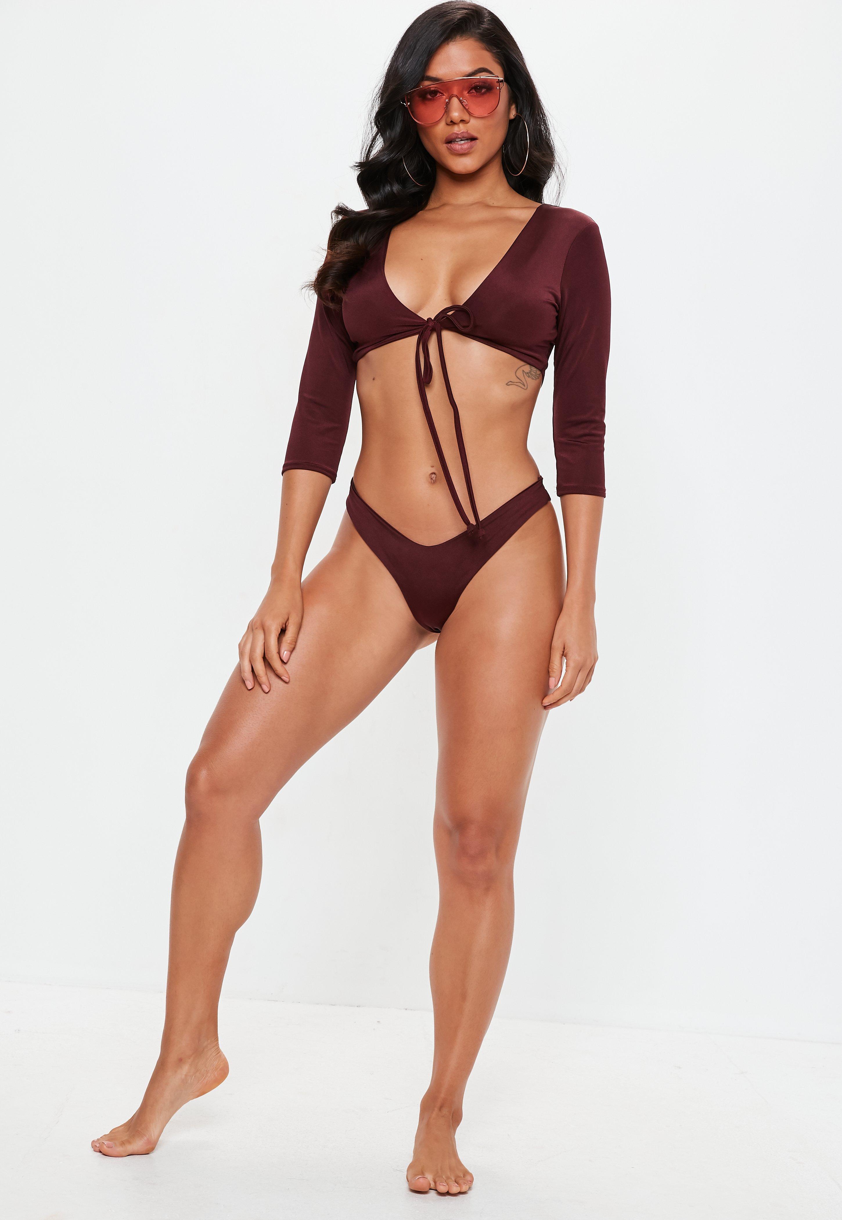 cb713c1f22 Missguided - Multicolor Burgundy Tie Front Long Sleeve Bikini Top - Lyst.  View fullscreen