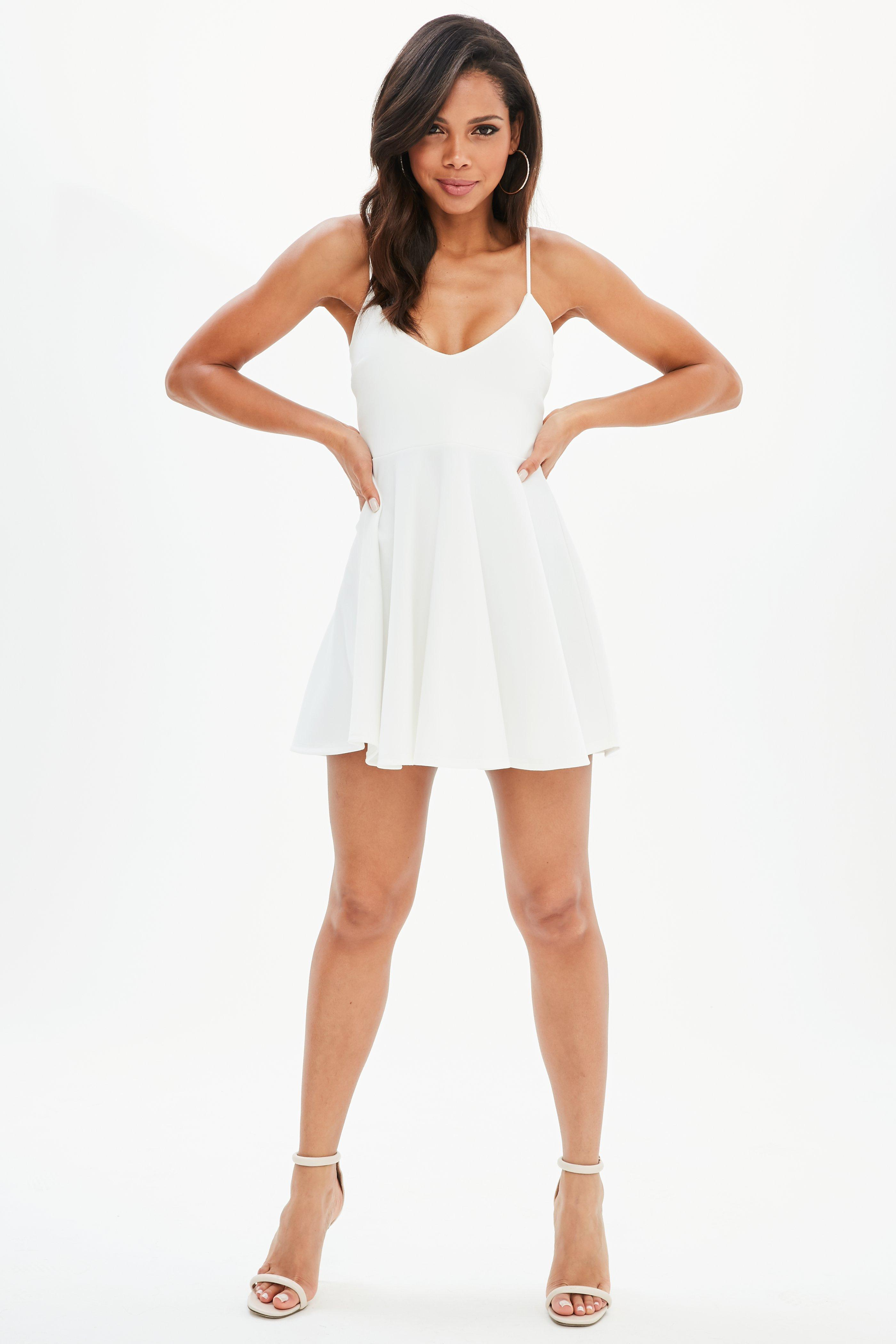e0a88f57a34 Missguided - Petite White Strappy Scuba Skater Dress - Lyst. View fullscreen