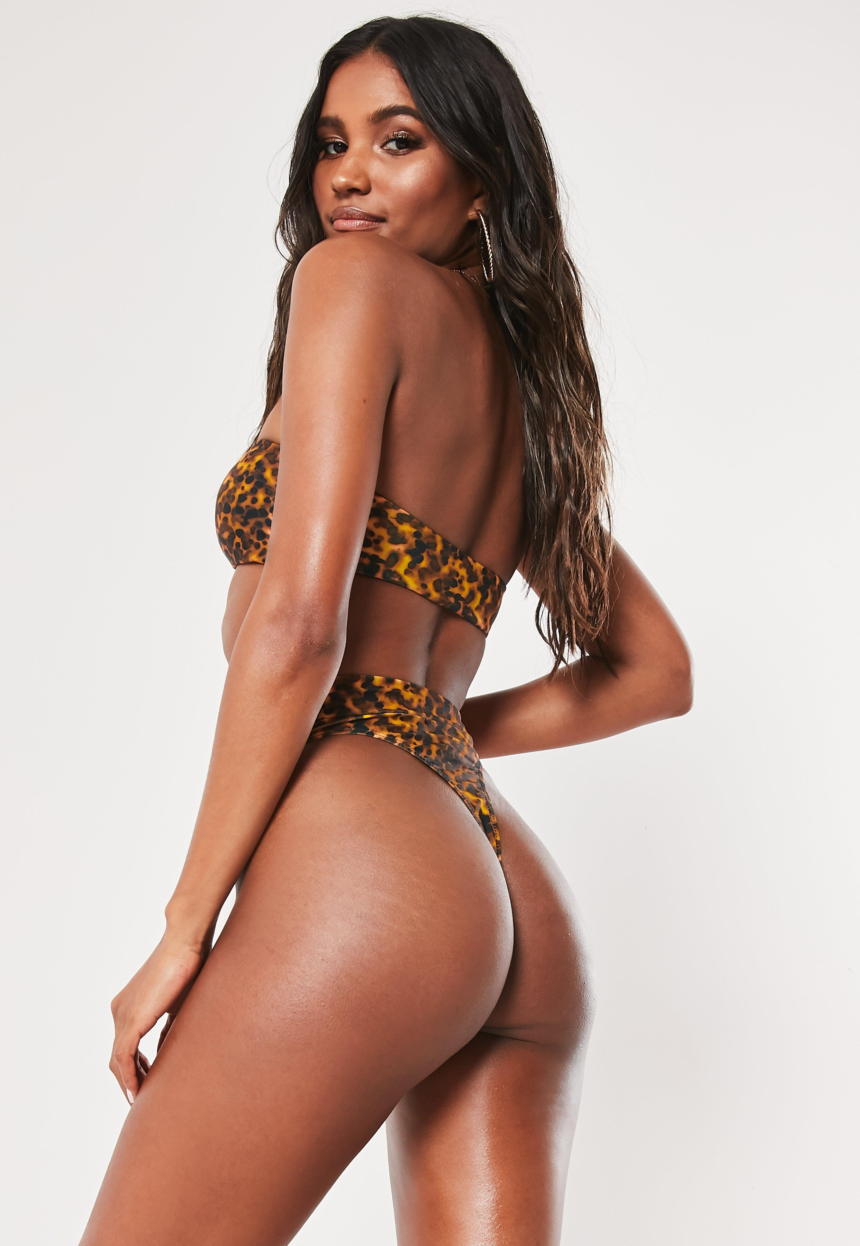 41e8b0c6ca6 Lyst - Missguided Brown Tortoiseshell Mix And Match High Waisted High Leg  Thong Bikini Bottoms in Brown