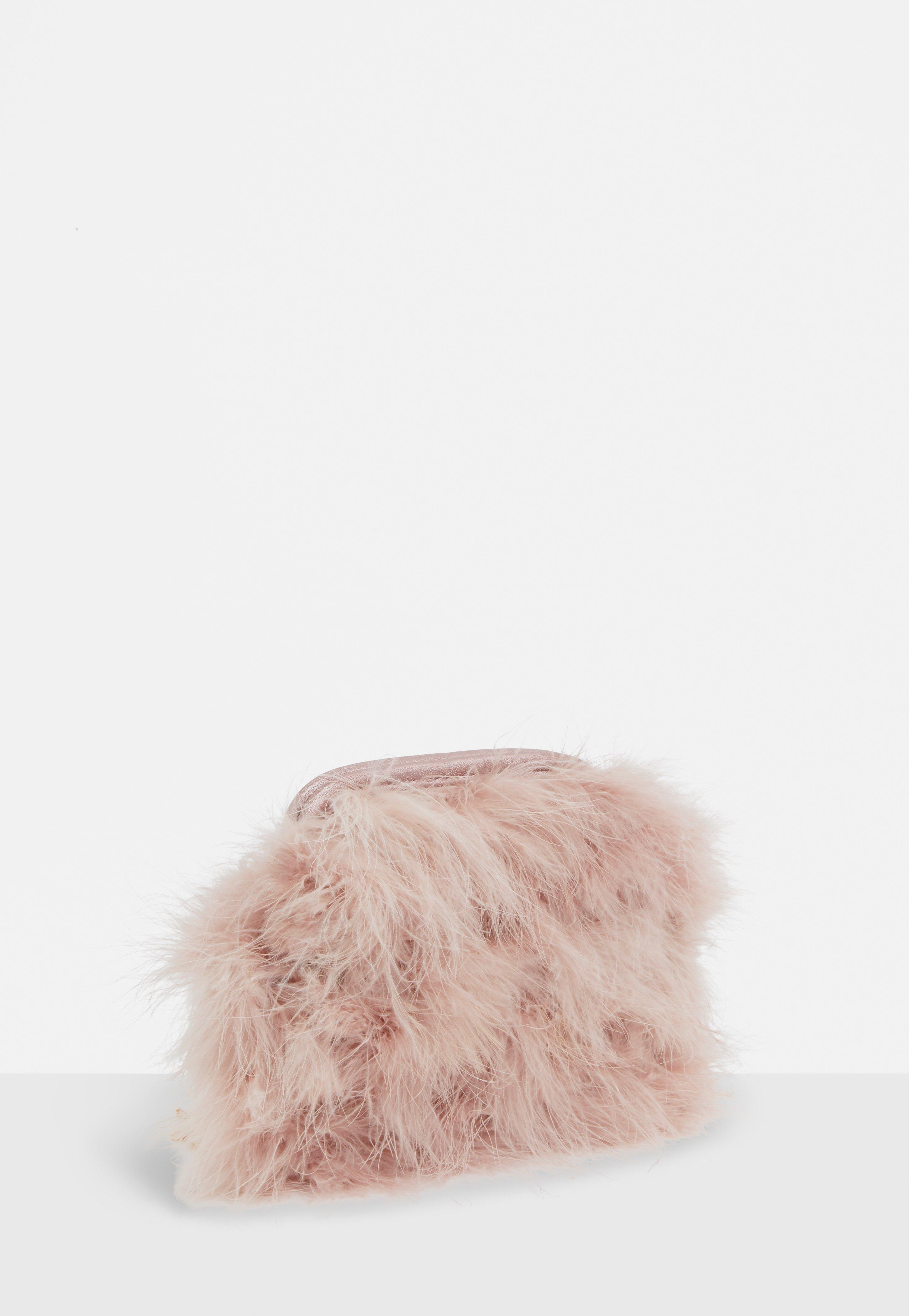 Lyst - Missguided Blush Round Feather Clutch Bag in Pink 70de6a3fcab6a