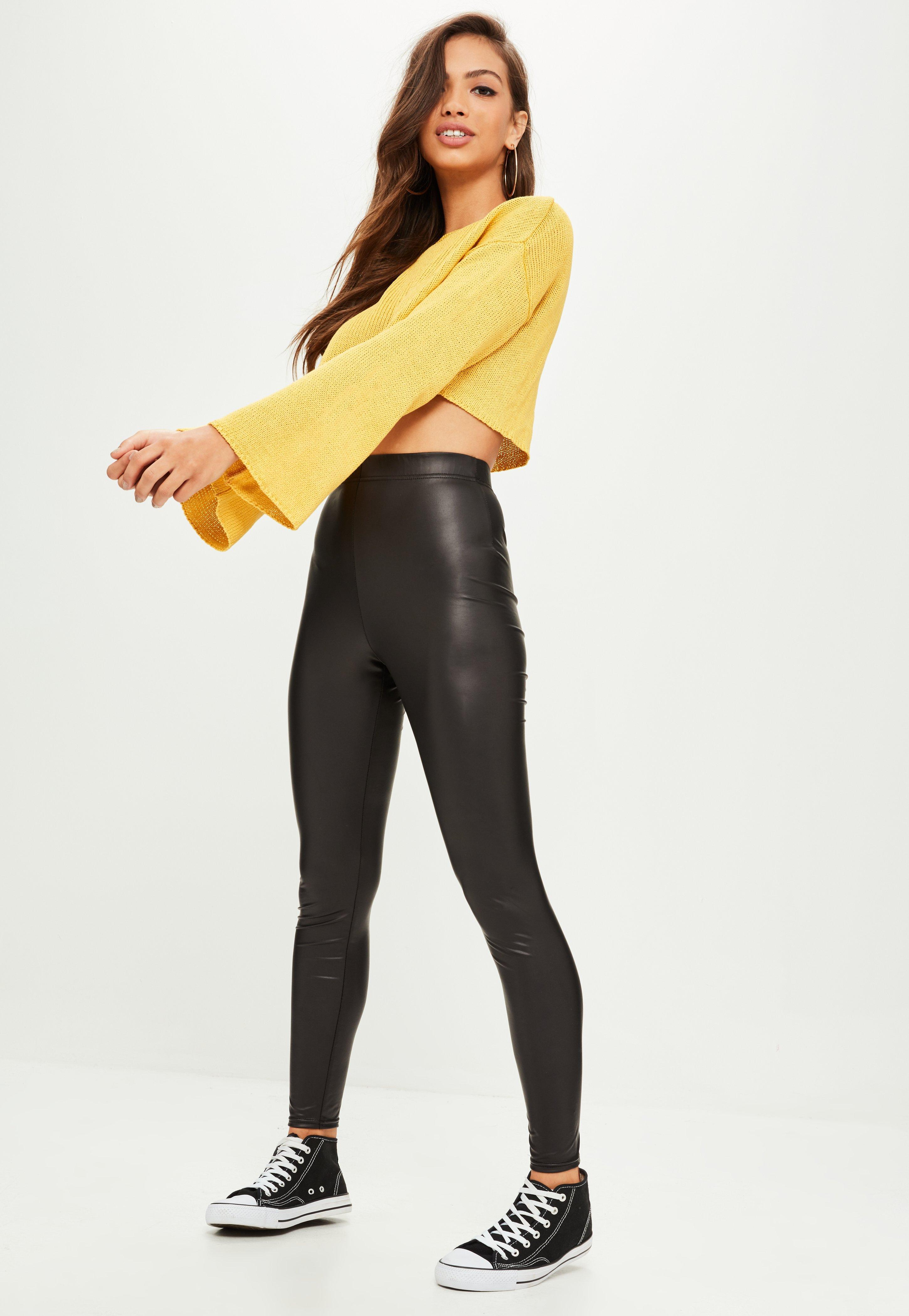 Missguided Black Faux Leather Coated Leggings   Lyst