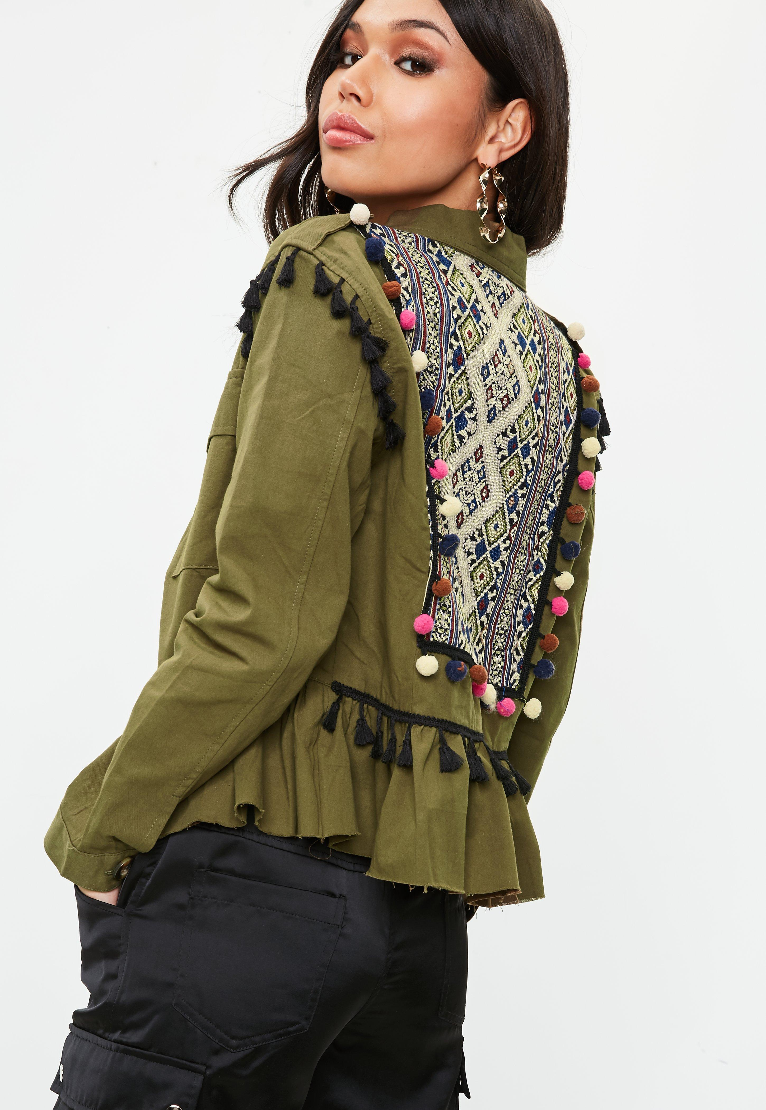 Lyst missguided khaki frill back detail embroidered jacket