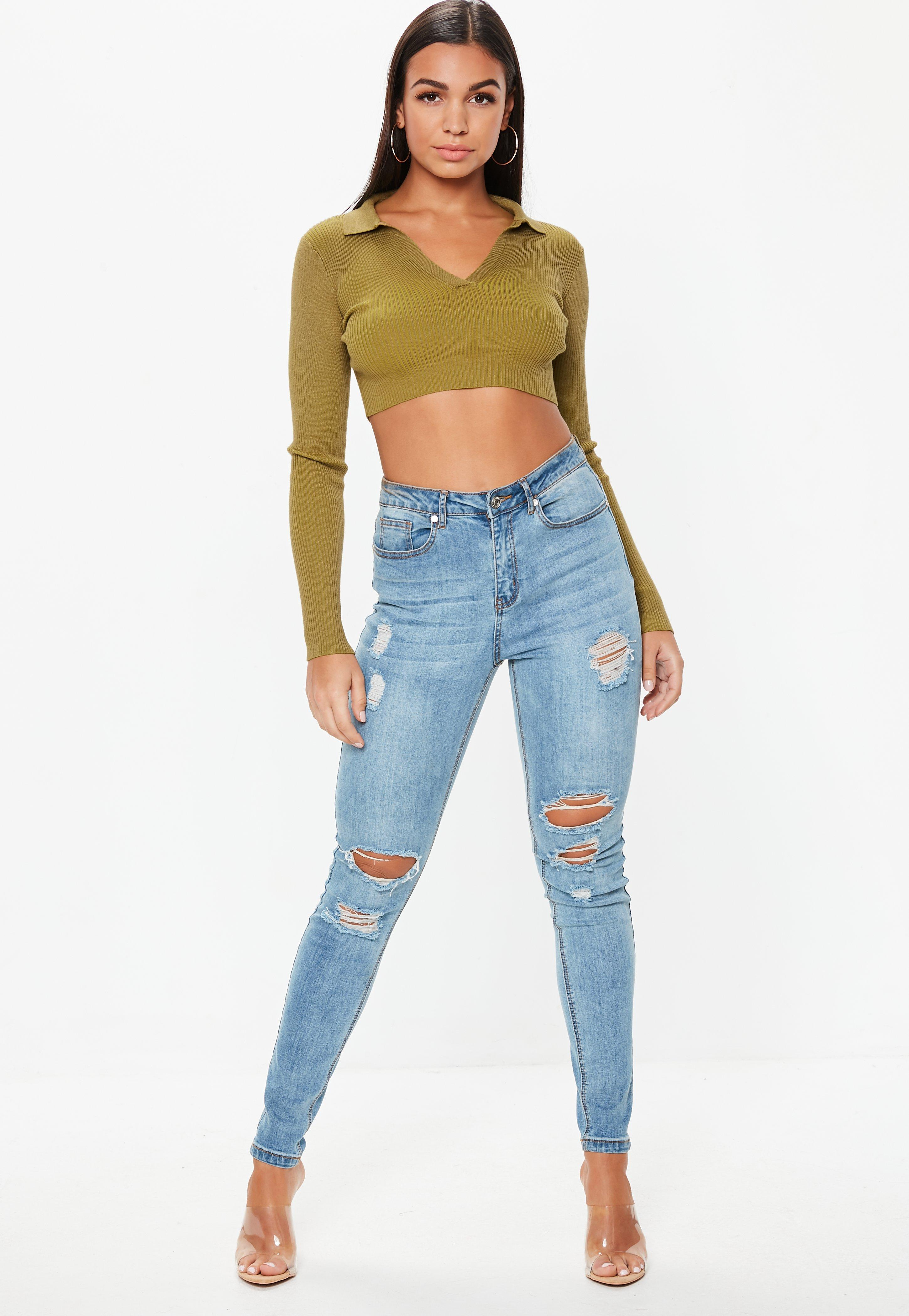 d63026177222e Missguided - Multicolor Khaki Collar Plunge Knitted Crop Top - Lyst. View  fullscreen