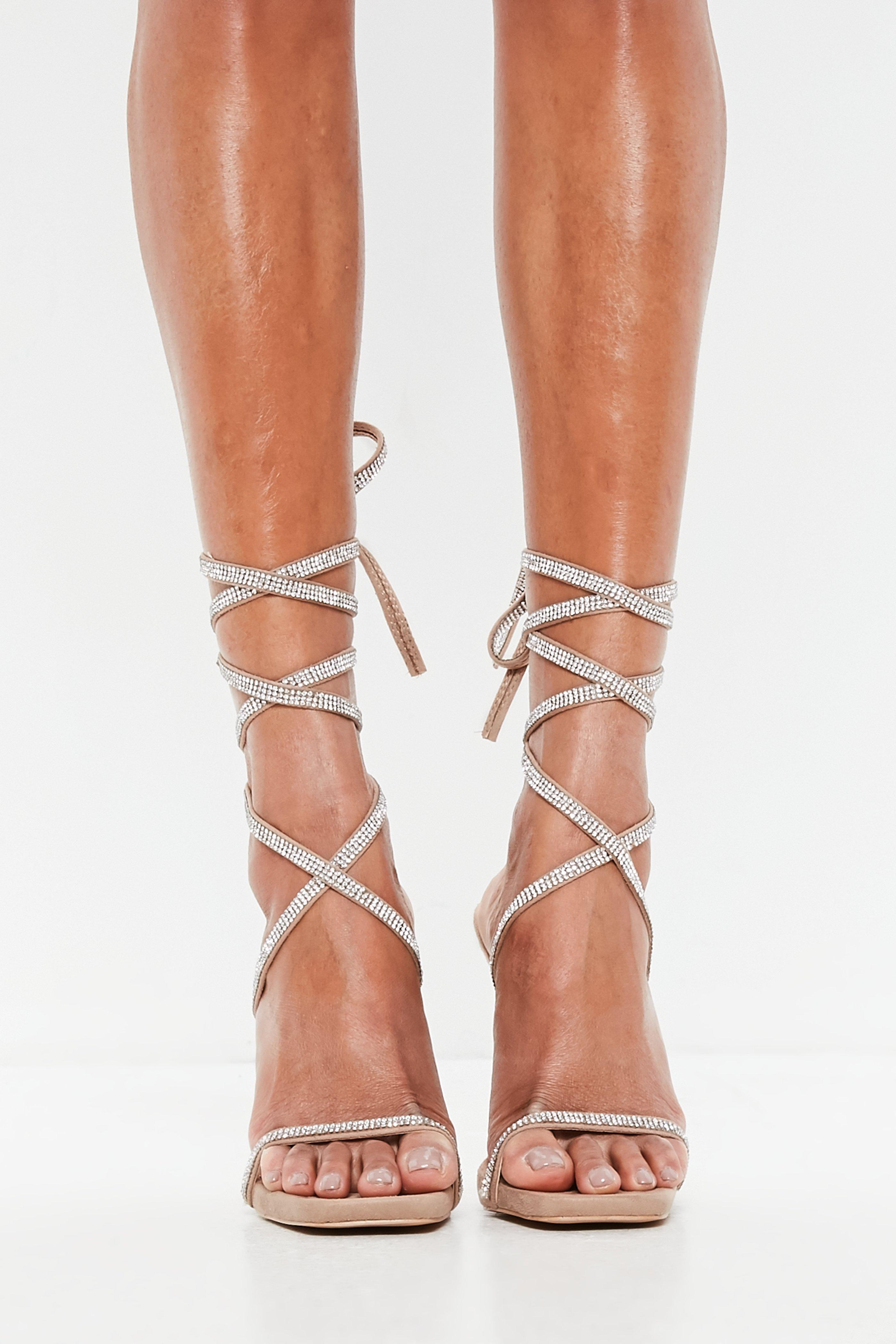 Alexandre Birman Leather Lace-up Sandal in Beige (Natural