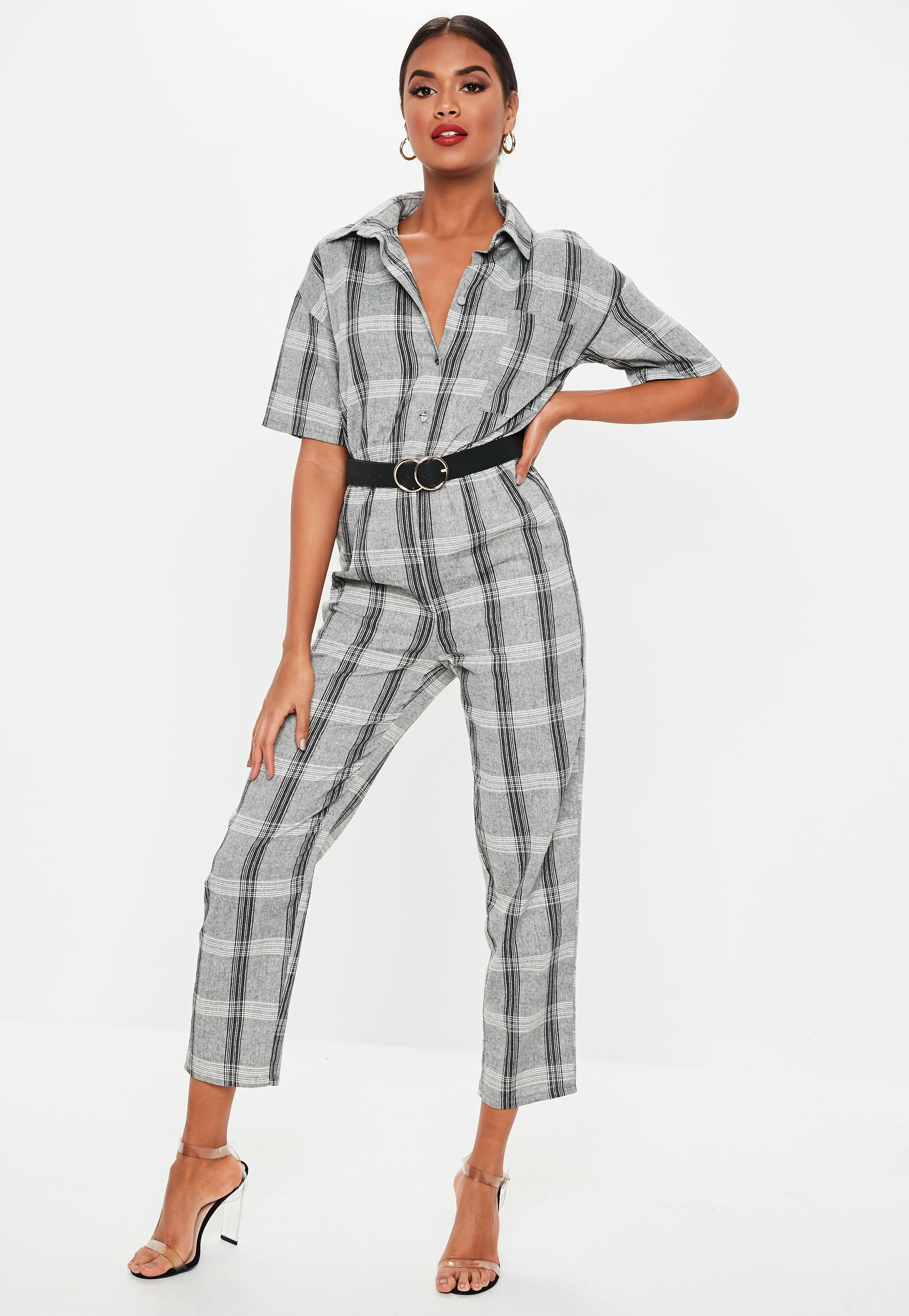 65d2c01cc186 Lyst - Missguided Grey Check Print Short Sleeve Jumpsuit in Gray
